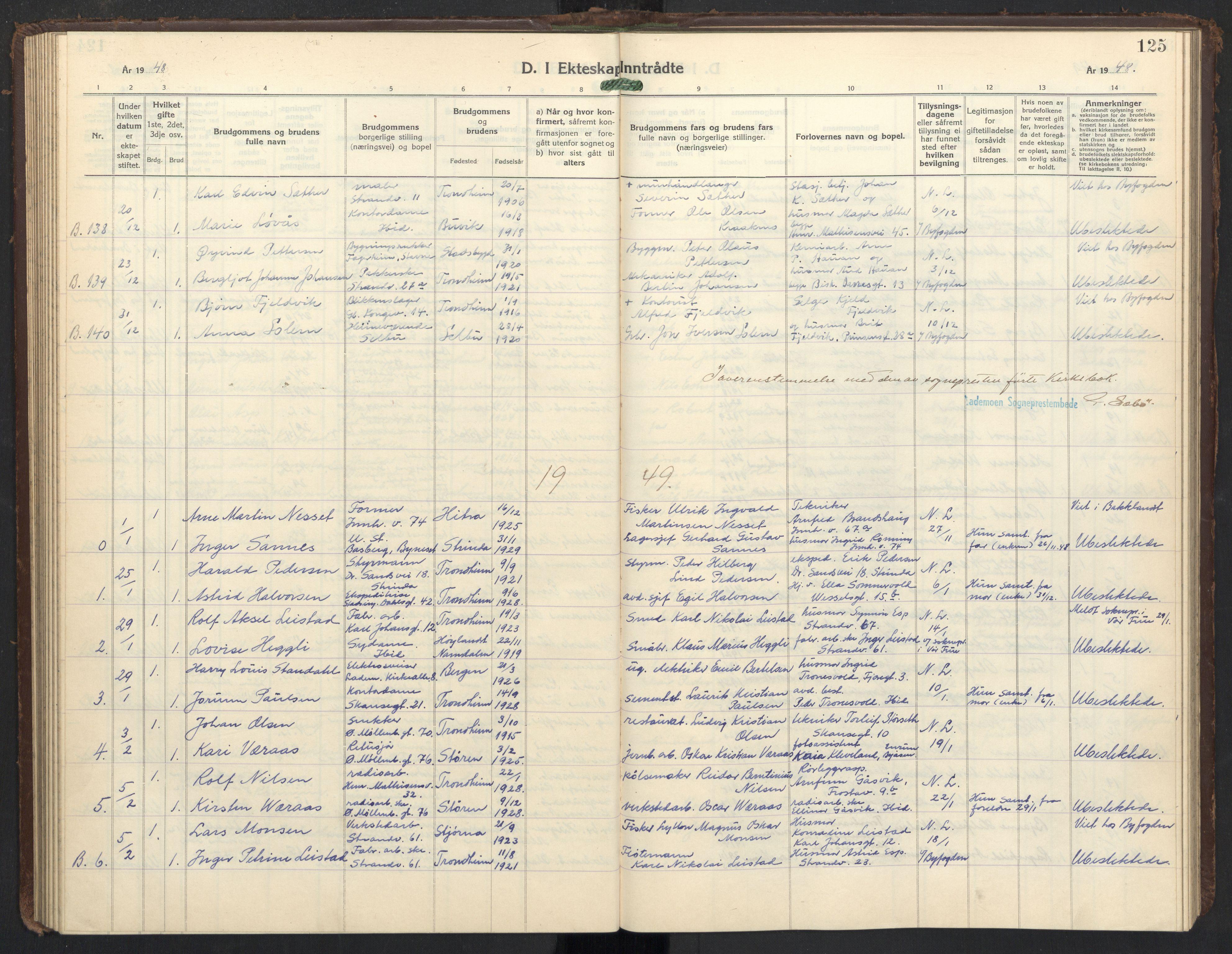 SAT, Ministerialprotokoller, klokkerbøker og fødselsregistre - Sør-Trøndelag, 605/L0263: Klokkerbok nr. 605C10, 1938-1949, s. 125