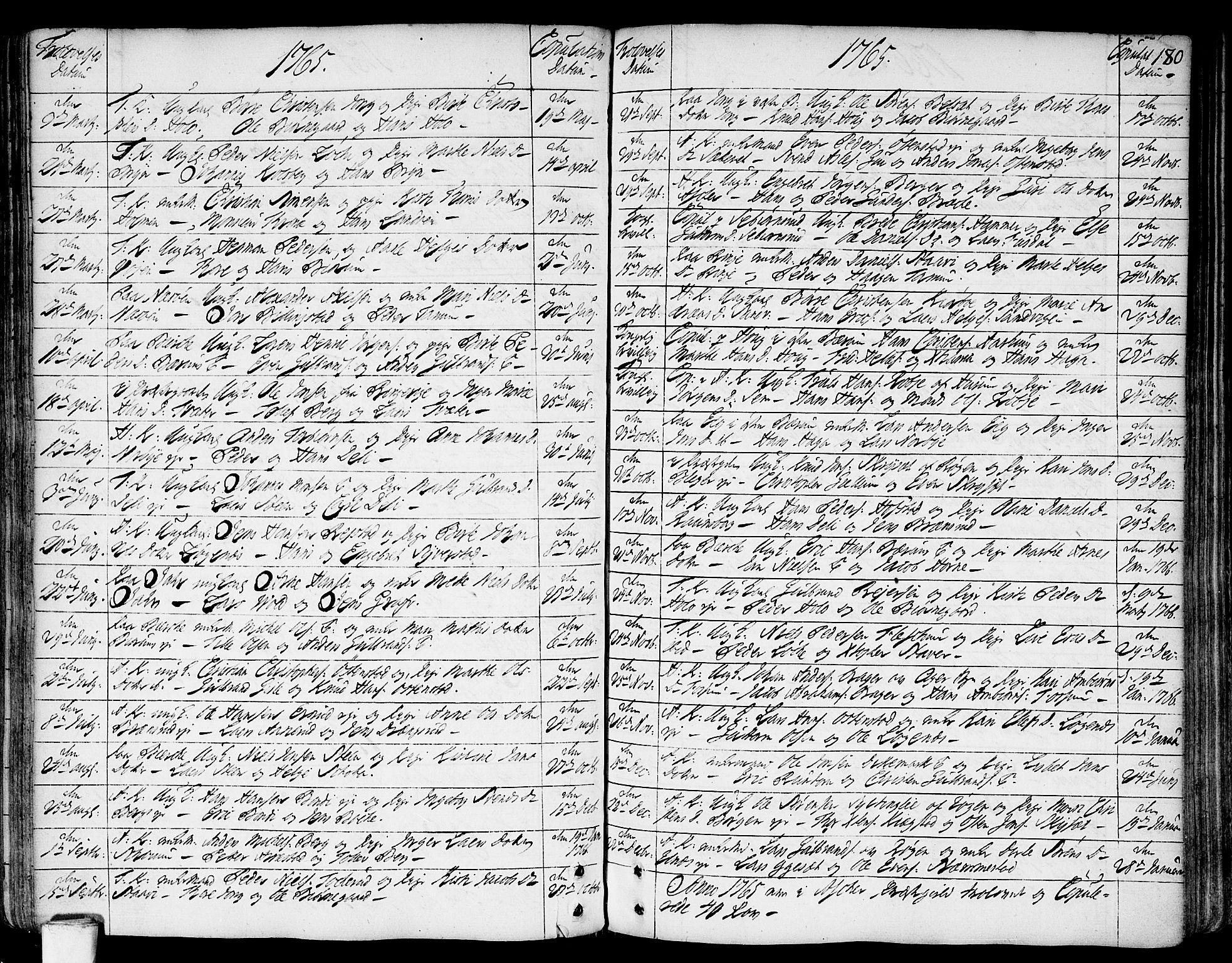 SAO, Asker prestekontor Kirkebøker, F/Fa/L0002: Ministerialbok nr. I 2, 1733-1766, s. 180