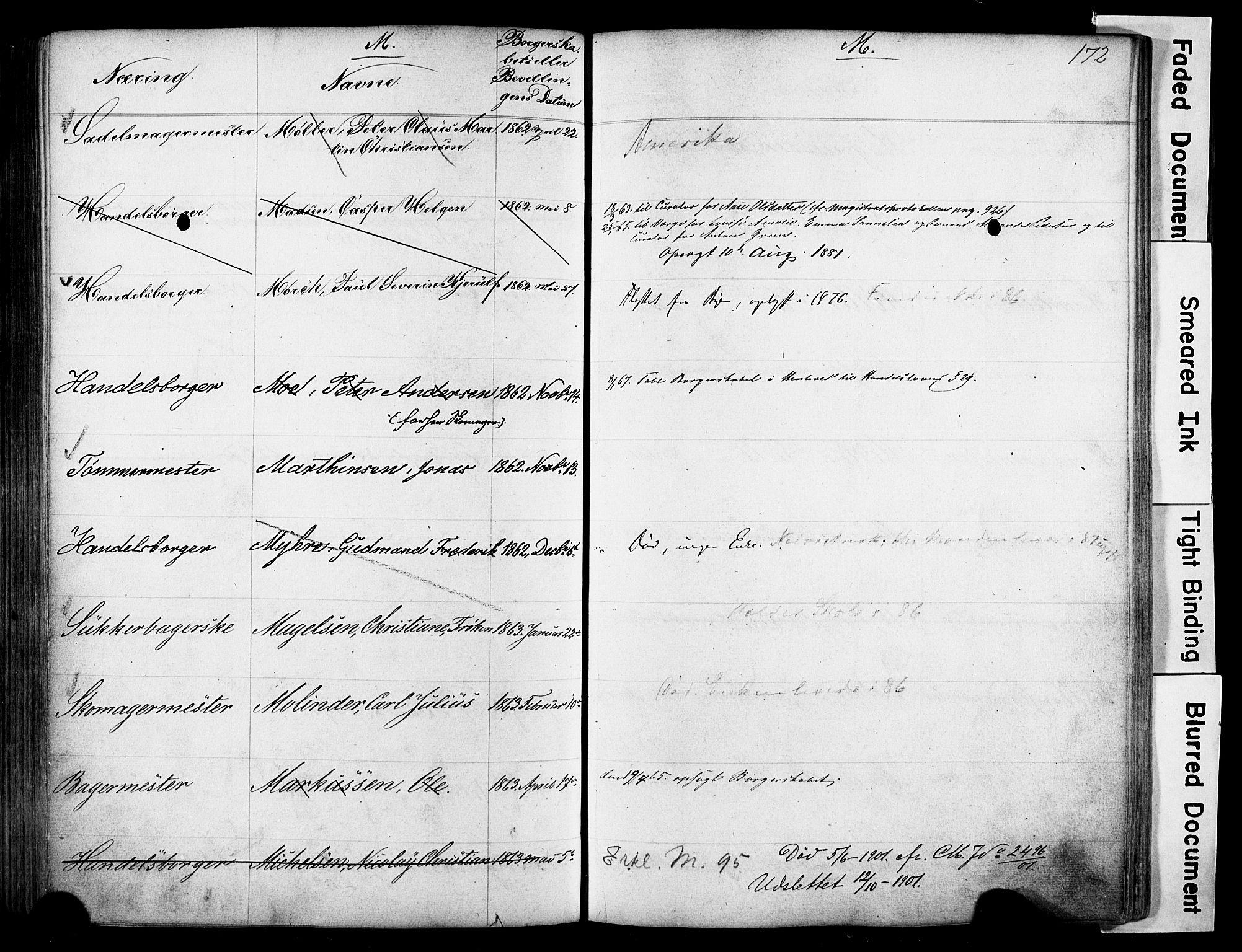 SAO, Kristiania magistrat, F/Fb/L0004: Borgerrulle, 1860-1879, s. 174