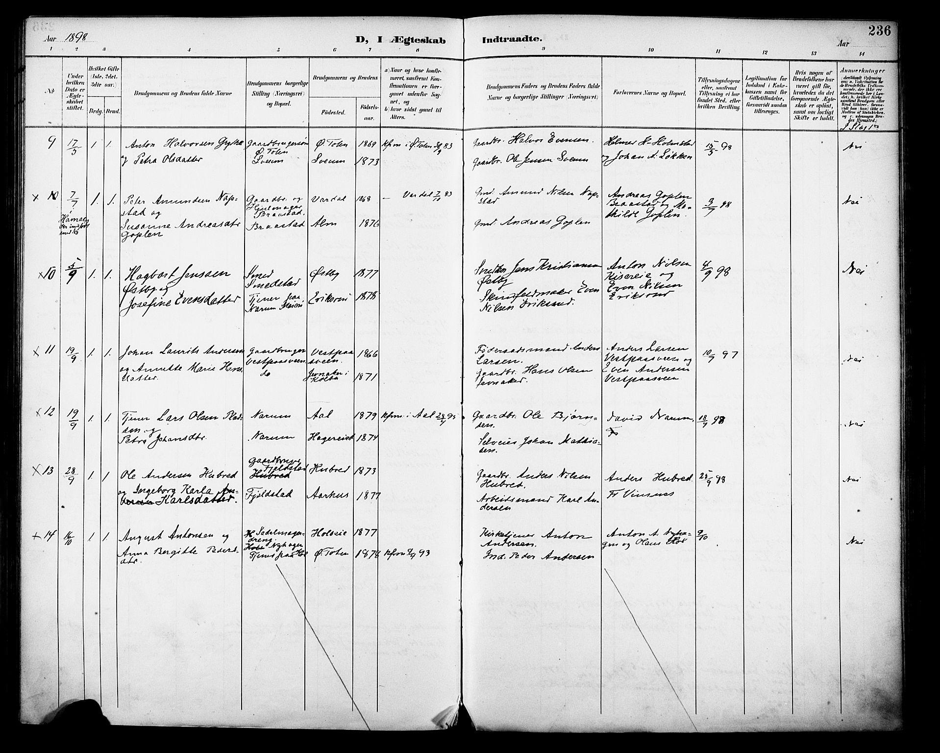 SAH, Vestre Toten prestekontor, H/Ha/Haa/L0013: Ministerialbok nr. 13, 1895-1911, s. 236
