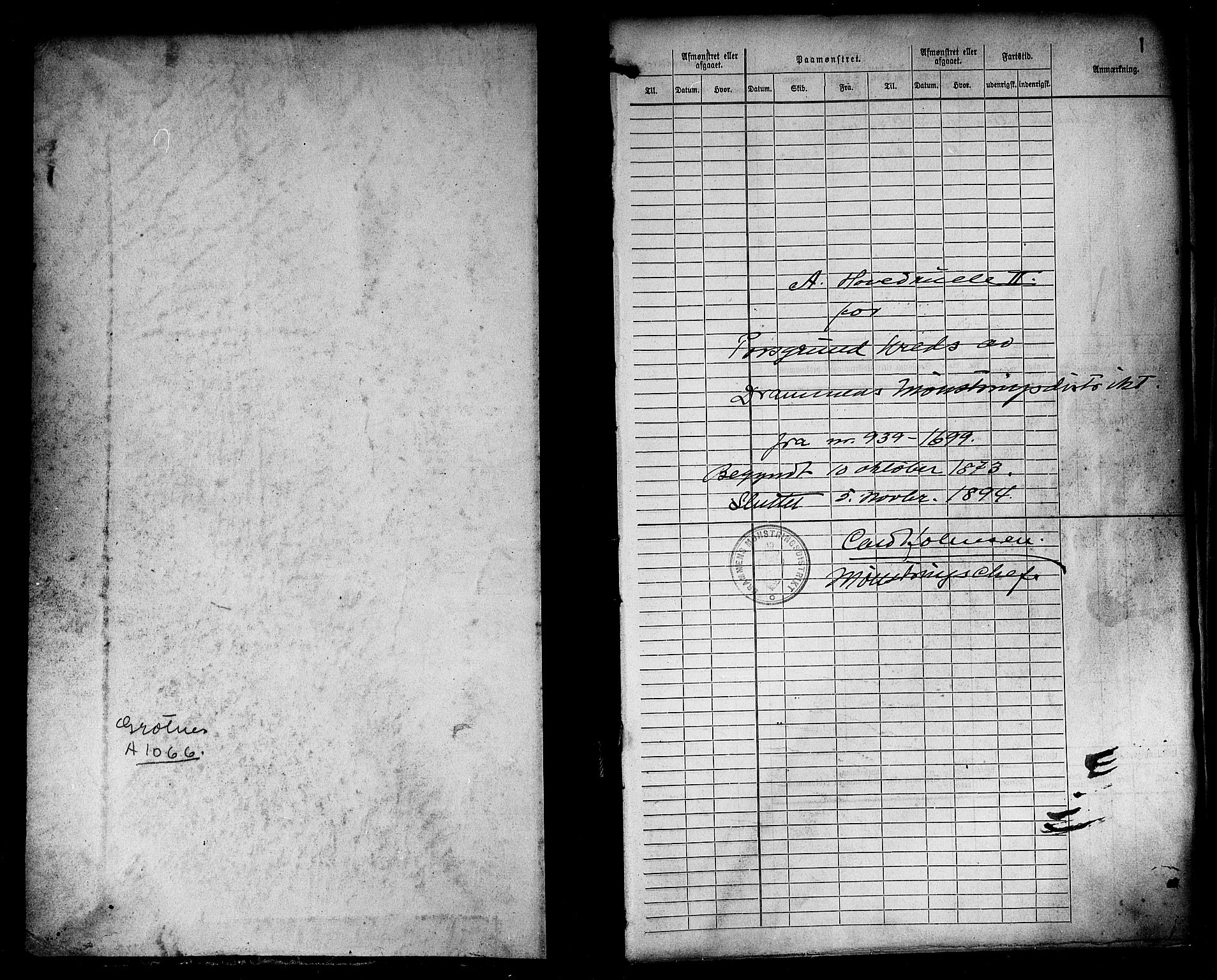 SAKO, Porsgrunn innrulleringskontor, F/Fc/L0005: Hovedrulle, 1873-1894, s. 2