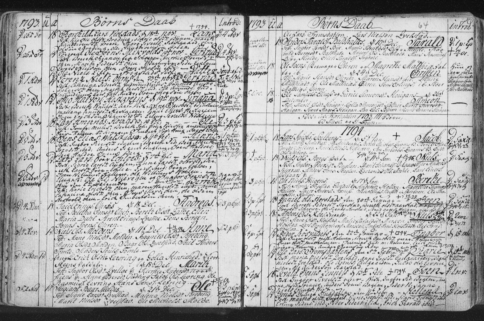 SAT, Ministerialprotokoller, klokkerbøker og fødselsregistre - Nord-Trøndelag, 723/L0232: Ministerialbok nr. 723A03, 1781-1804, s. 64