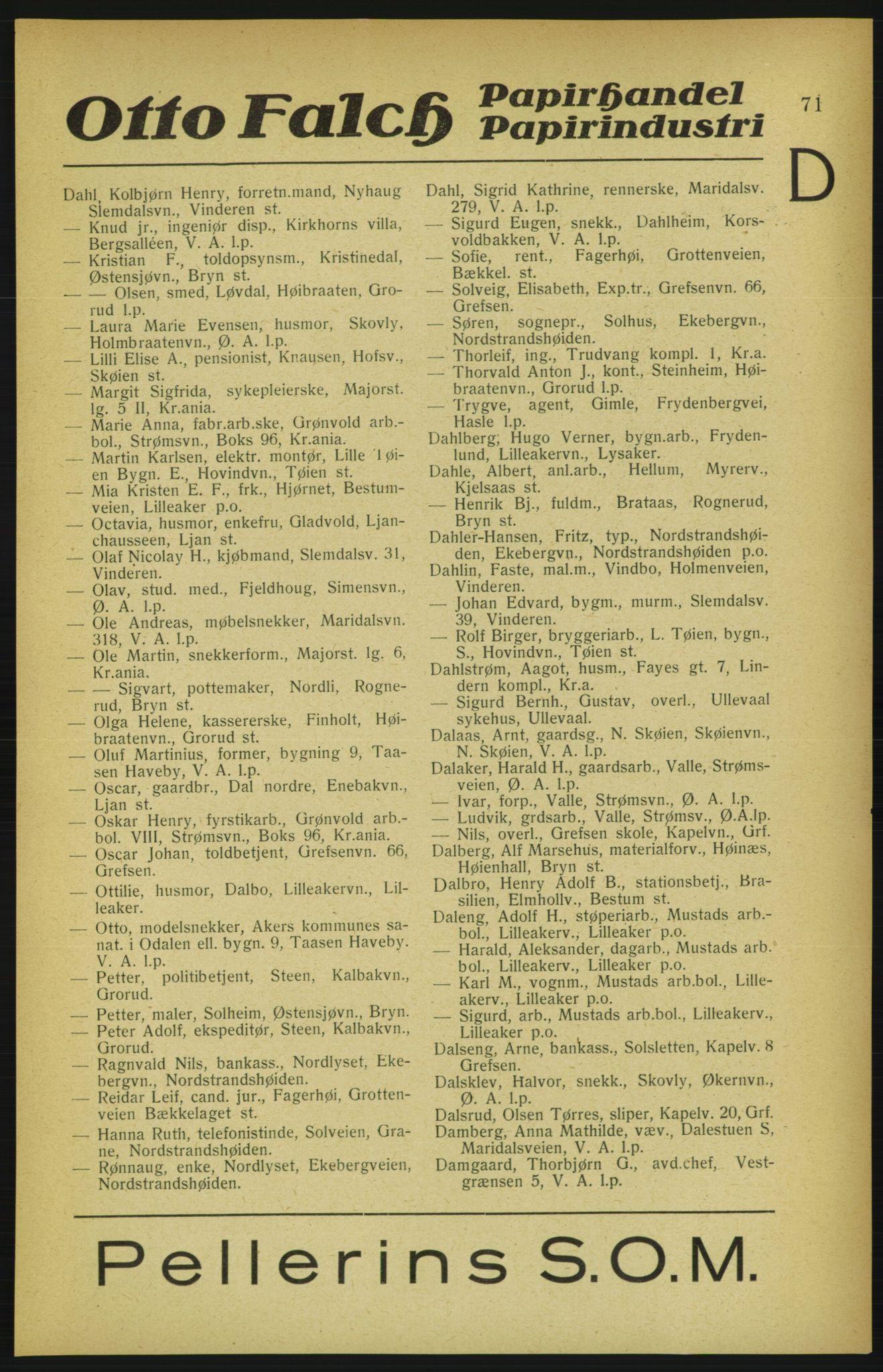 PUBL, Aker adressebok/adressekalender, 1922, s. 71