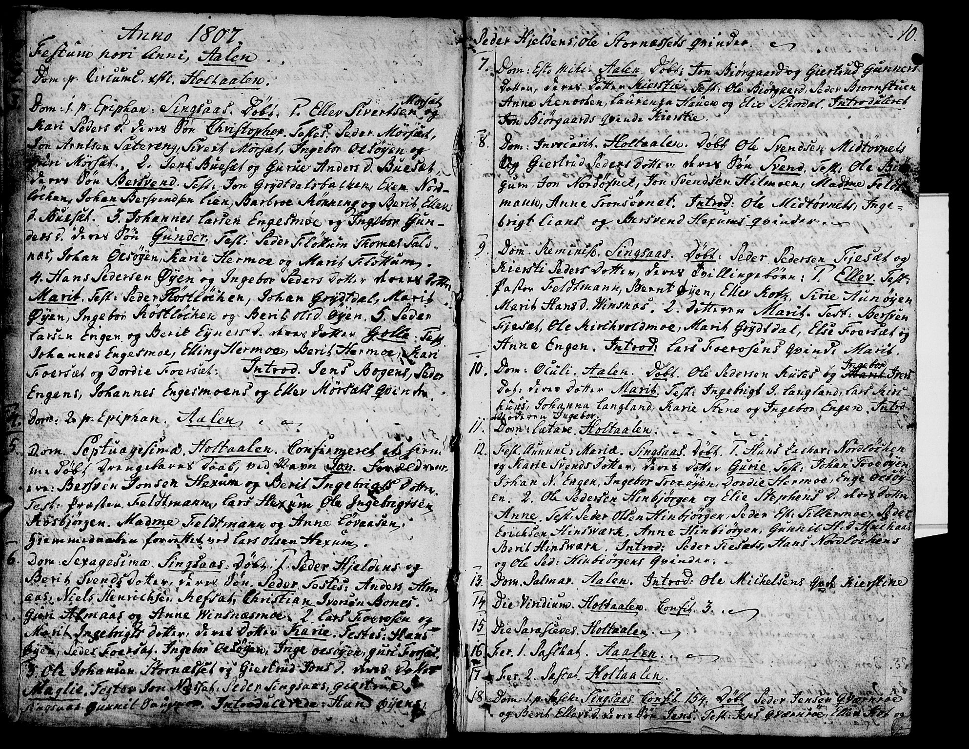 SAT, Ministerialprotokoller, klokkerbøker og fødselsregistre - Sør-Trøndelag, 685/L0953: Ministerialbok nr. 685A02, 1805-1816, s. 10