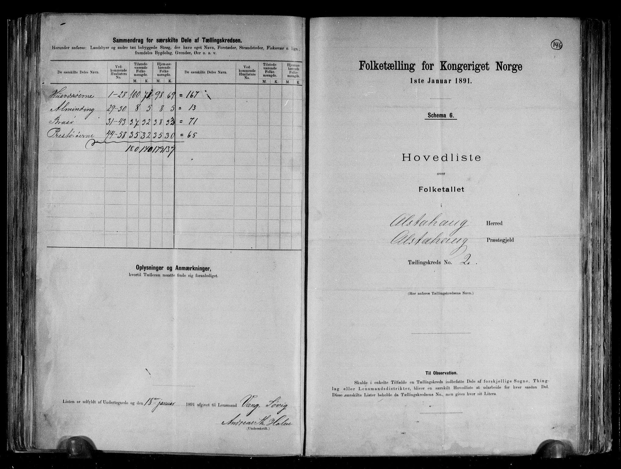 RA, Folketelling 1891 for 1820 Alstahaug herred, 1891, s. 8
