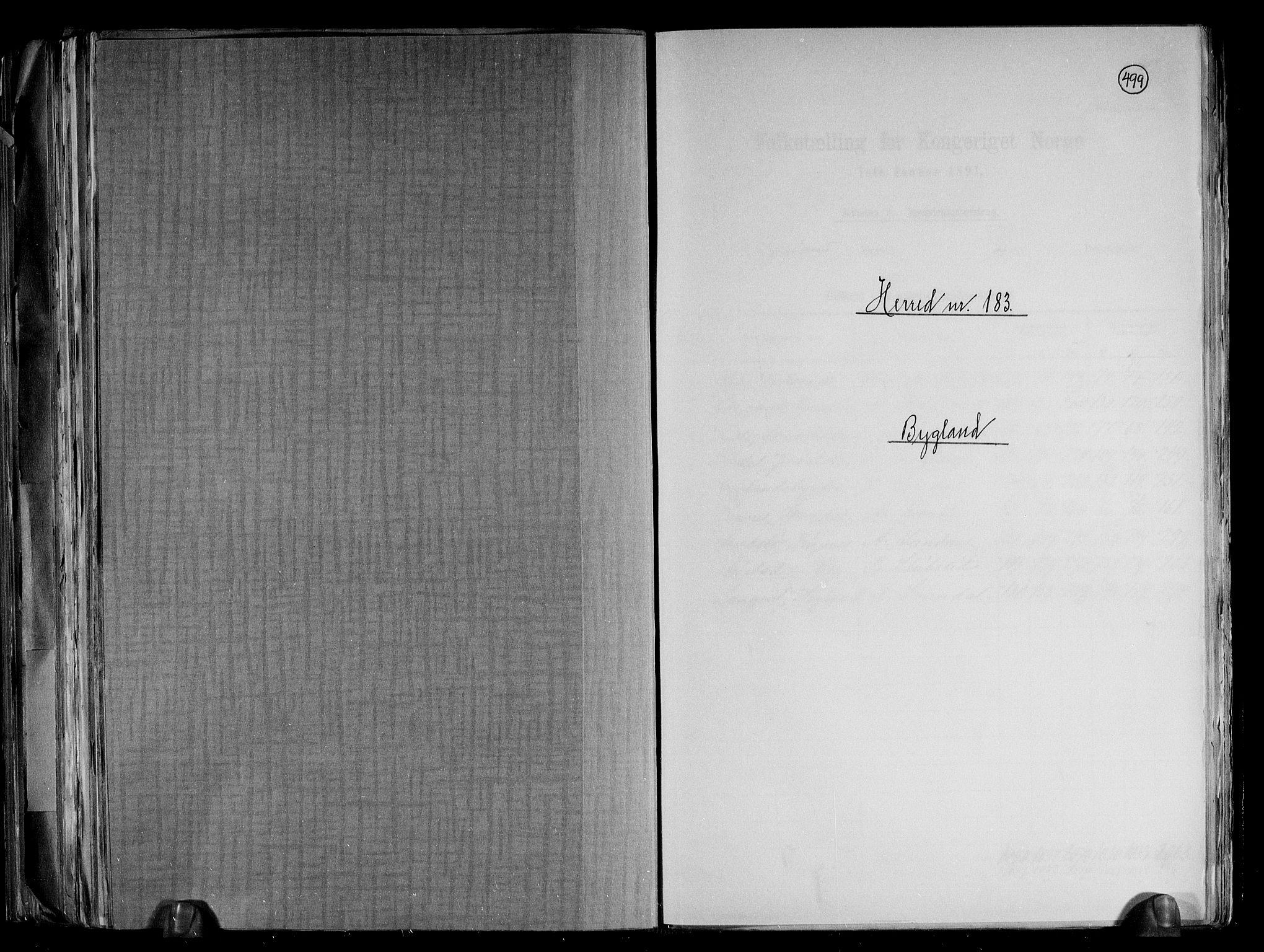 RA, Folketelling 1891 for 0938 Bygland herred, 1891, s. 1