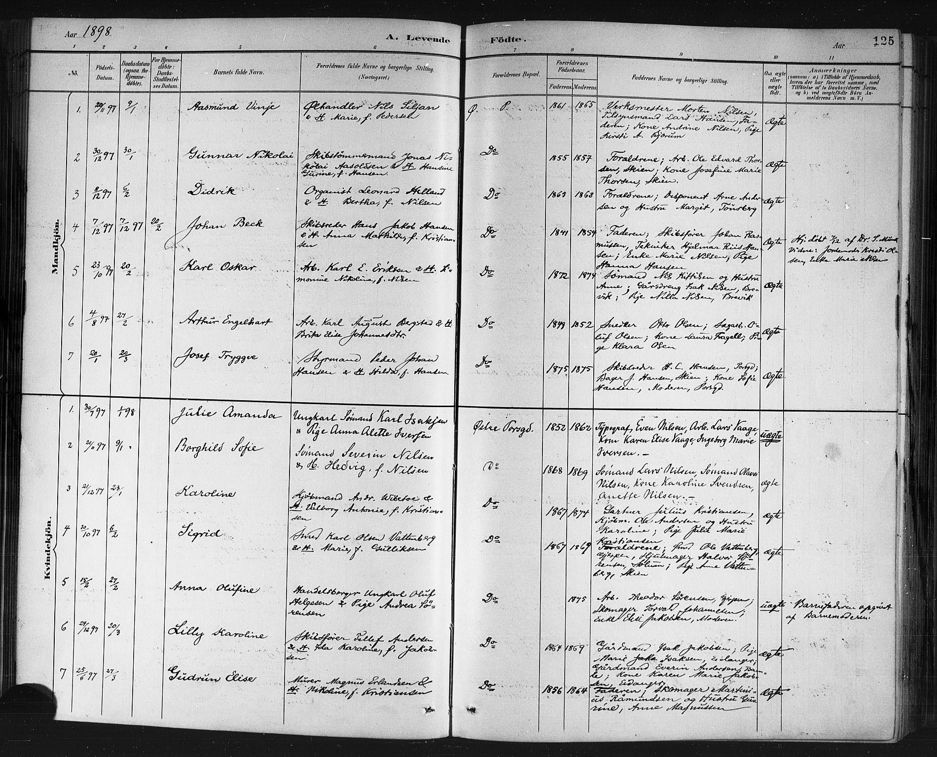 SAKO, Porsgrunn kirkebøker , G/Gb/L0005: Klokkerbok nr. II 5, 1883-1915, s. 125