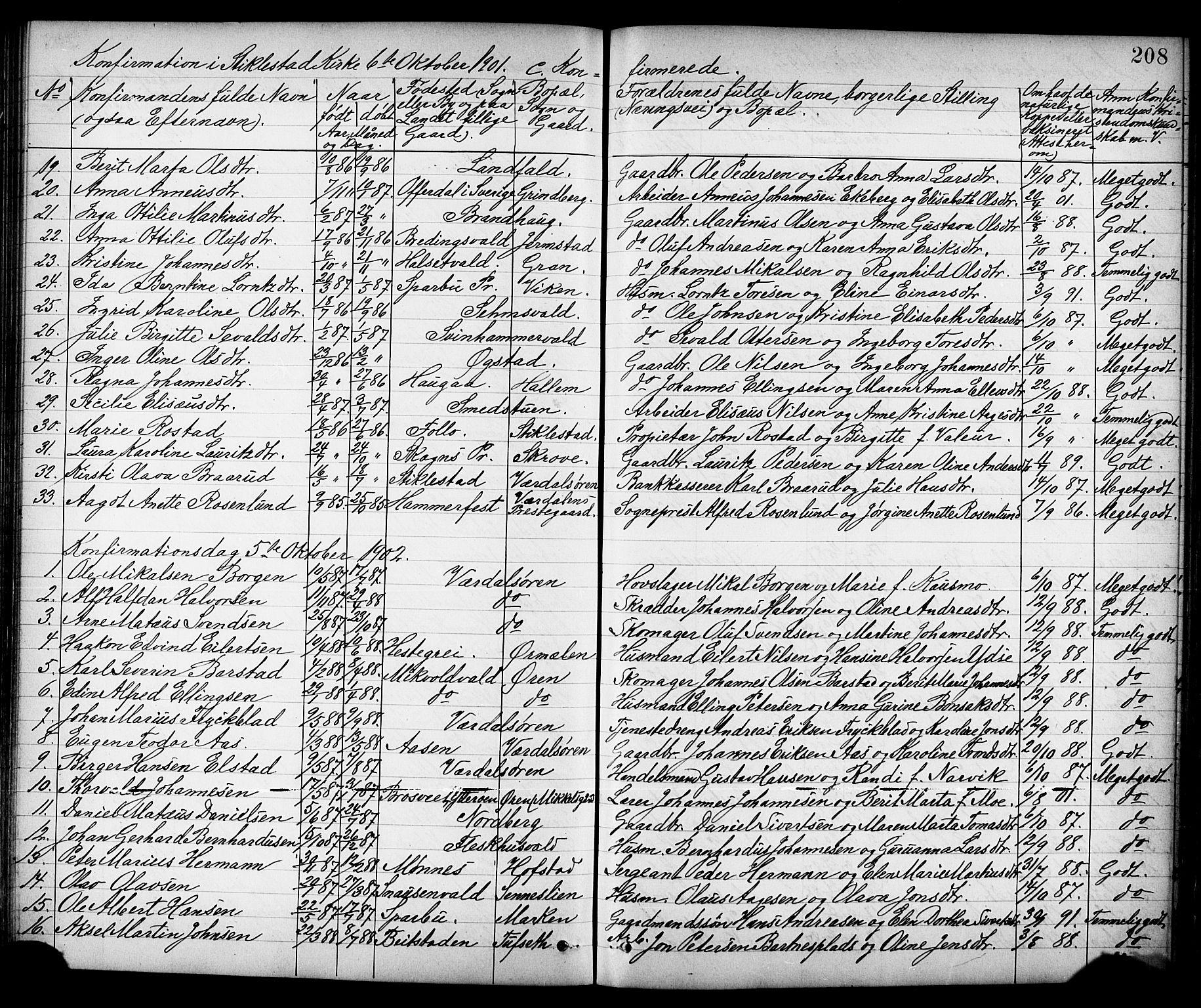 SAT, Ministerialprotokoller, klokkerbøker og fødselsregistre - Nord-Trøndelag, 723/L0257: Klokkerbok nr. 723C05, 1890-1907, s. 208