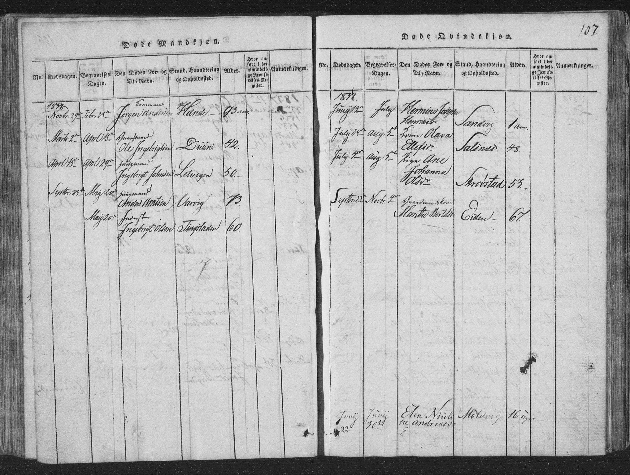 SAT, Ministerialprotokoller, klokkerbøker og fødselsregistre - Nord-Trøndelag, 773/L0613: Ministerialbok nr. 773A04, 1815-1845, s. 107