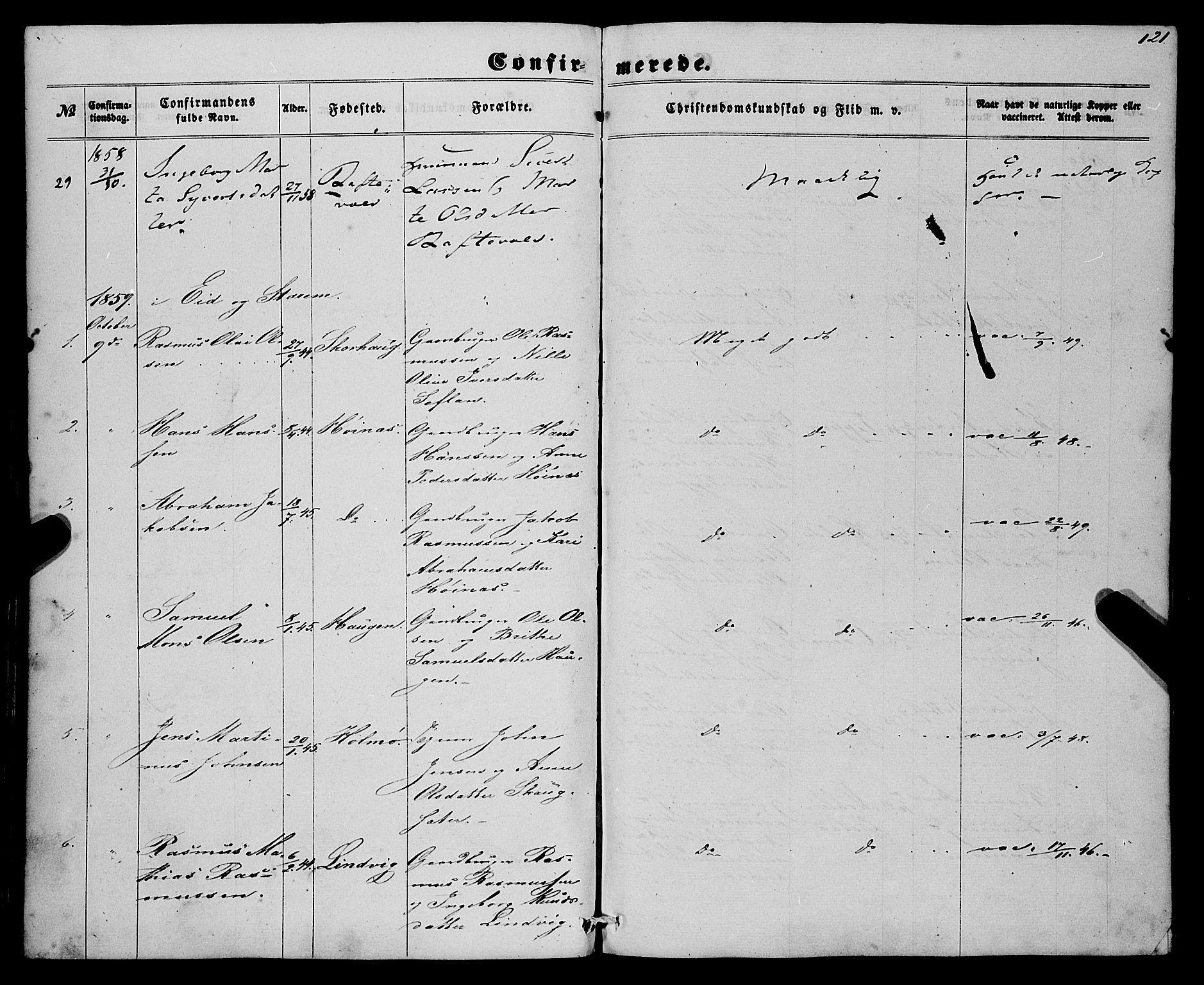 SAB, Eid Sokneprestembete, H/Haa: Ministerialbok nr. A 8, 1858-1860, s. 121