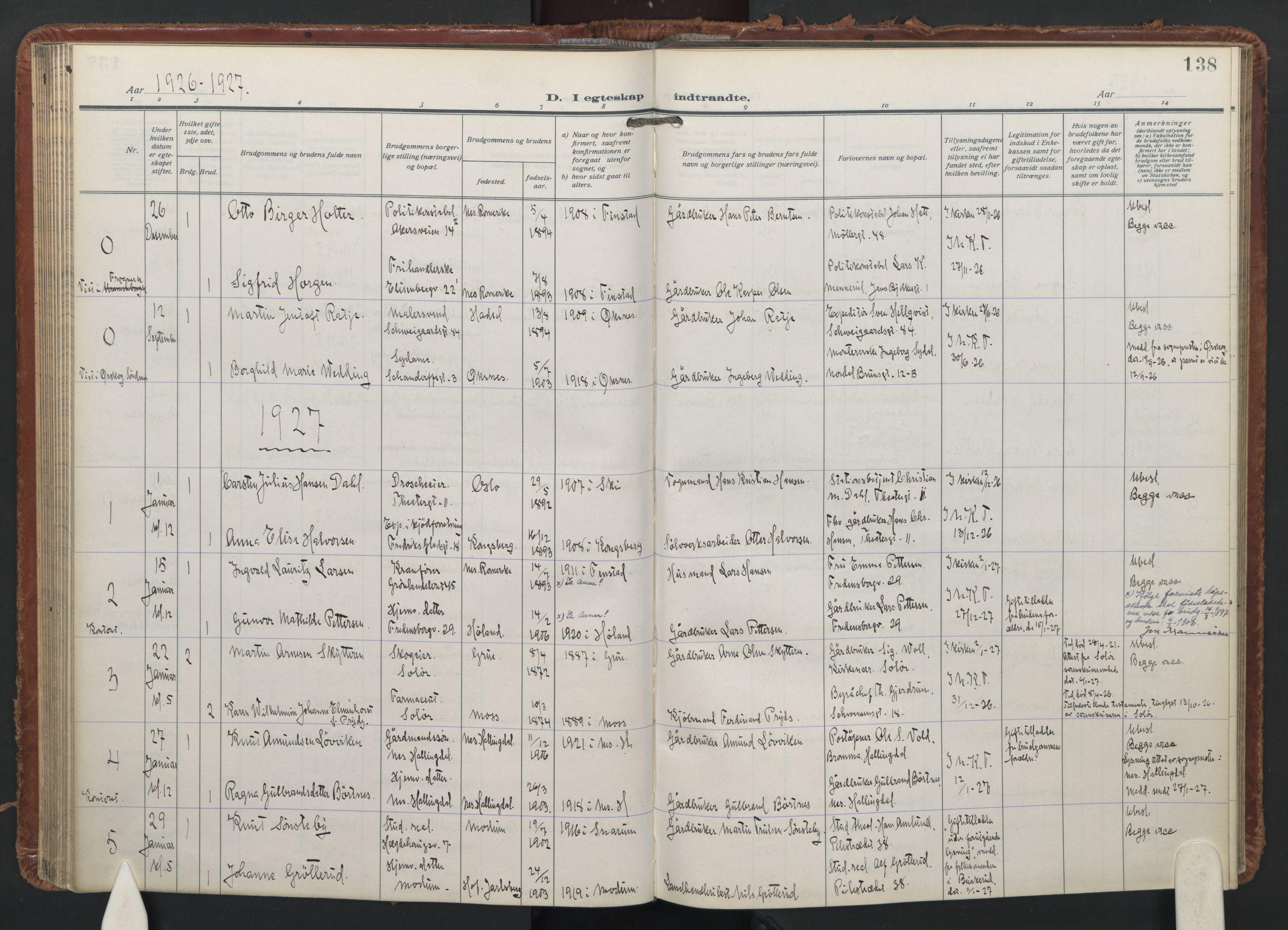 SAO, Trefoldighet prestekontor Kirkebøker, F/Fc/L0009: Ministerialbok nr. III 9, 1922-1936, s. 138