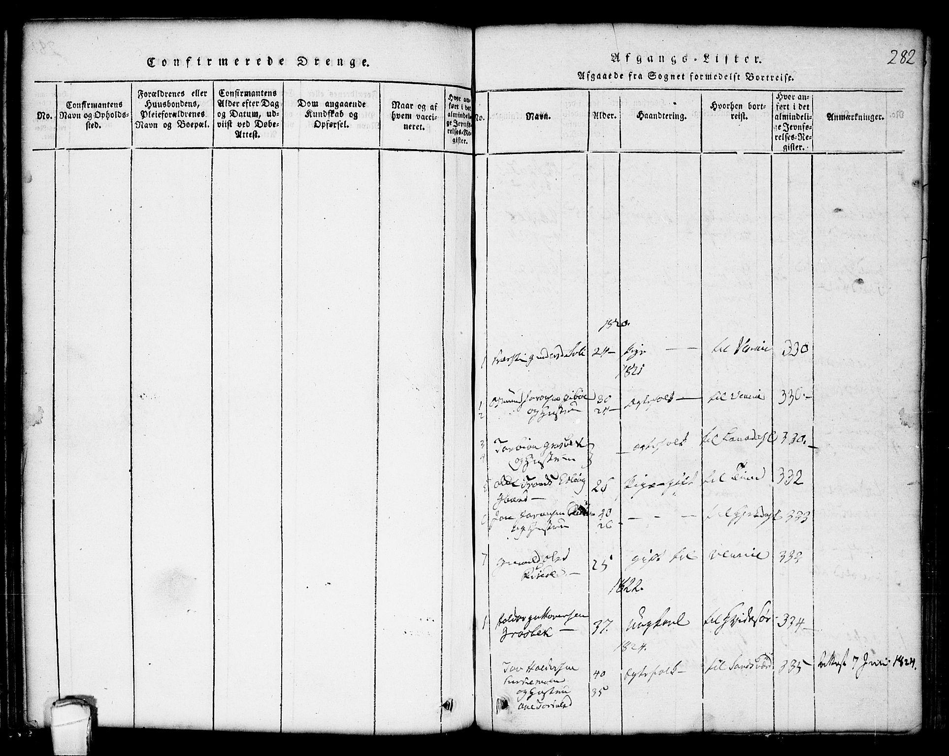 SAKO, Seljord kirkebøker, G/Gc/L0001: Klokkerbok nr. III 1, 1815-1849, s. 282