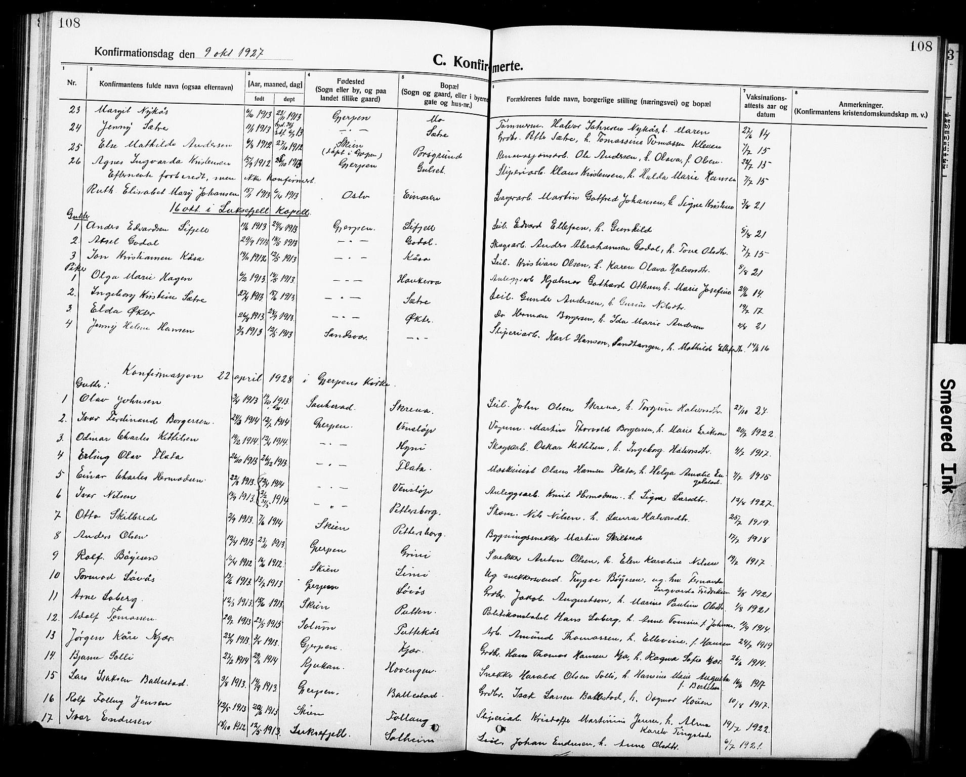 SAKO, Gjerpen kirkebøker, G/Ga/L0004: Klokkerbok nr. I 4, 1920-1931, s. 108