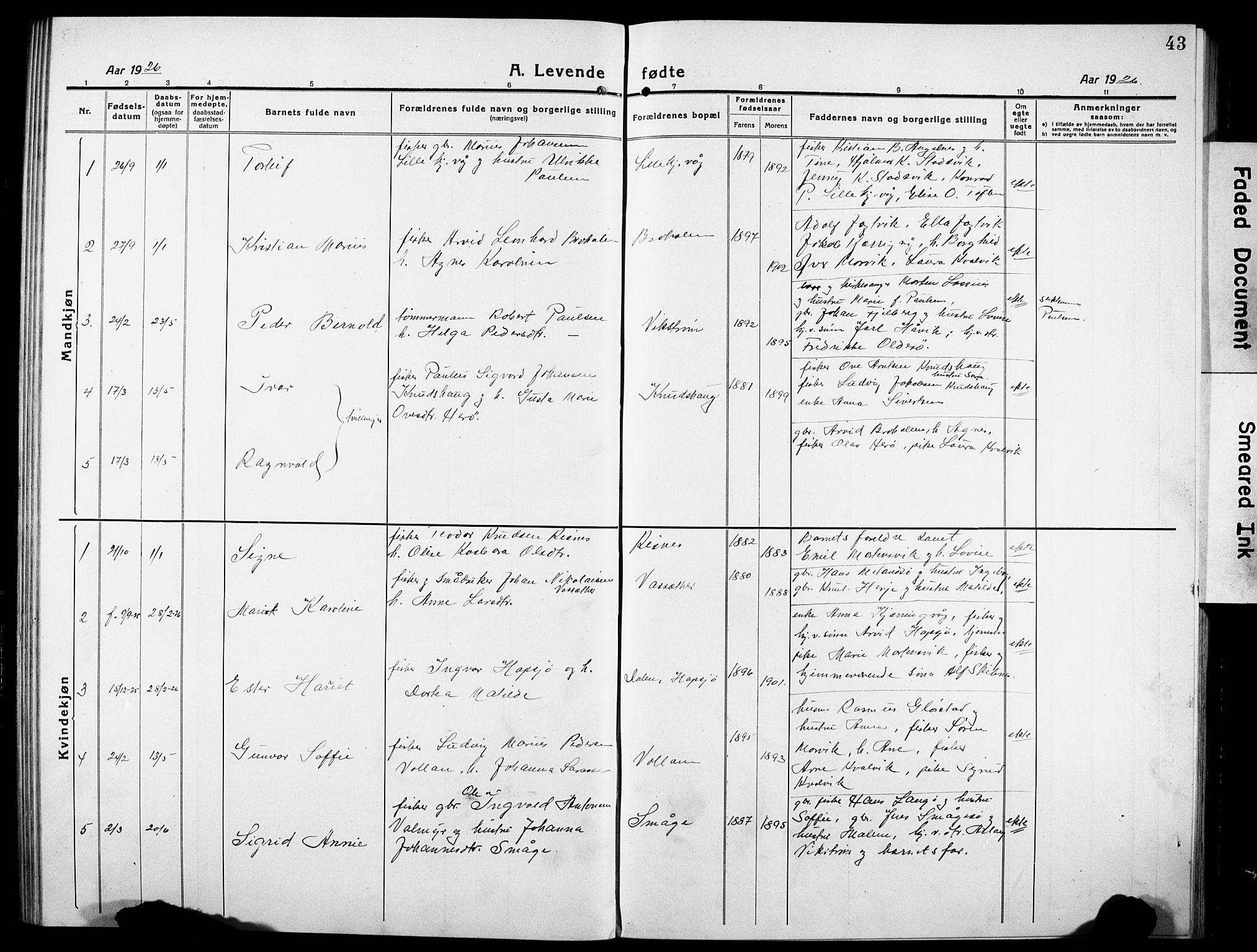 SAT, Ministerialprotokoller, klokkerbøker og fødselsregistre - Sør-Trøndelag, 634/L0543: Klokkerbok nr. 634C05, 1917-1928, s. 43