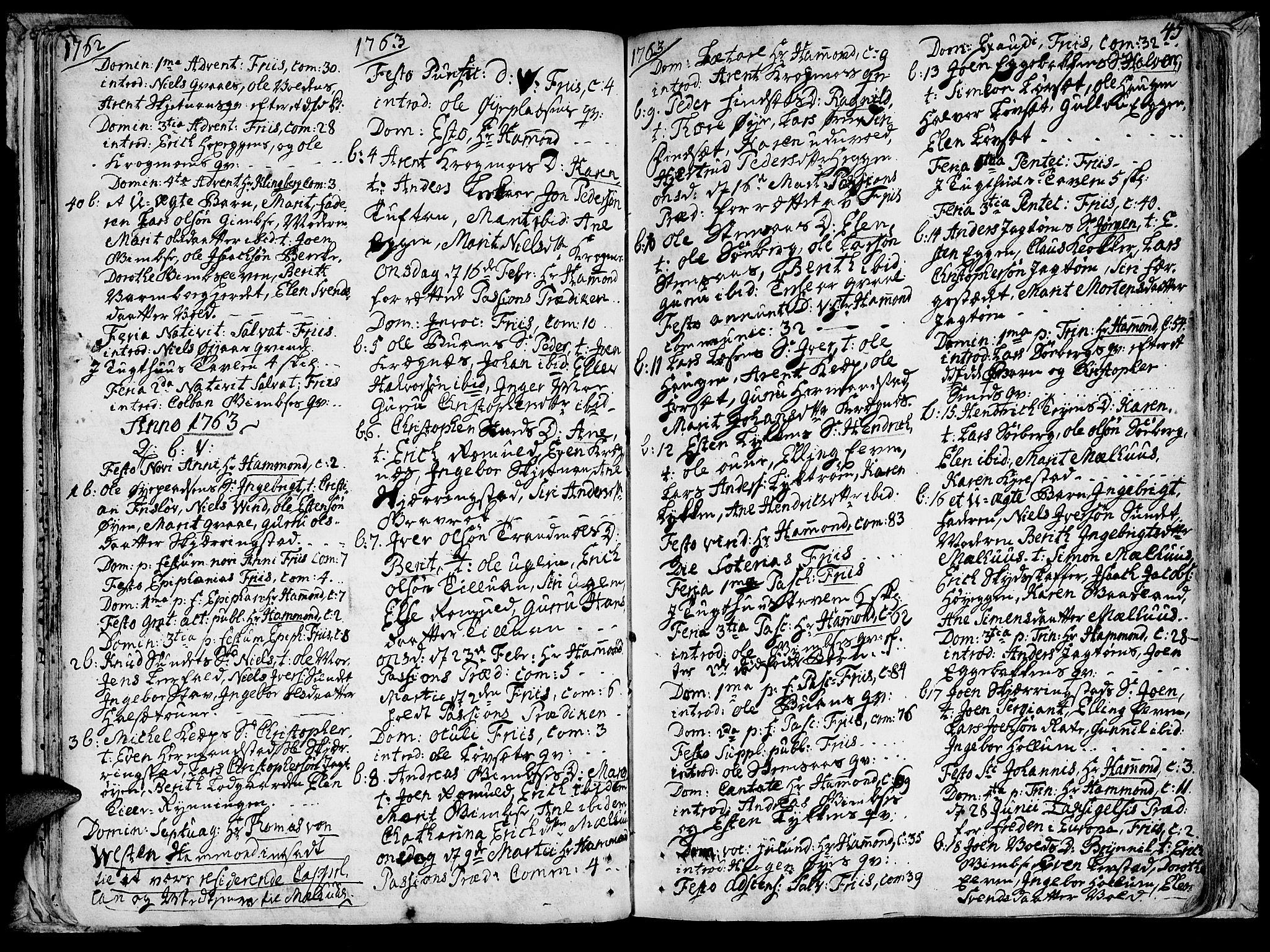 SAT, Ministerialprotokoller, klokkerbøker og fødselsregistre - Sør-Trøndelag, 691/L1057: Ministerialbok nr. 691A01 /1, 1740-1767, s. 45