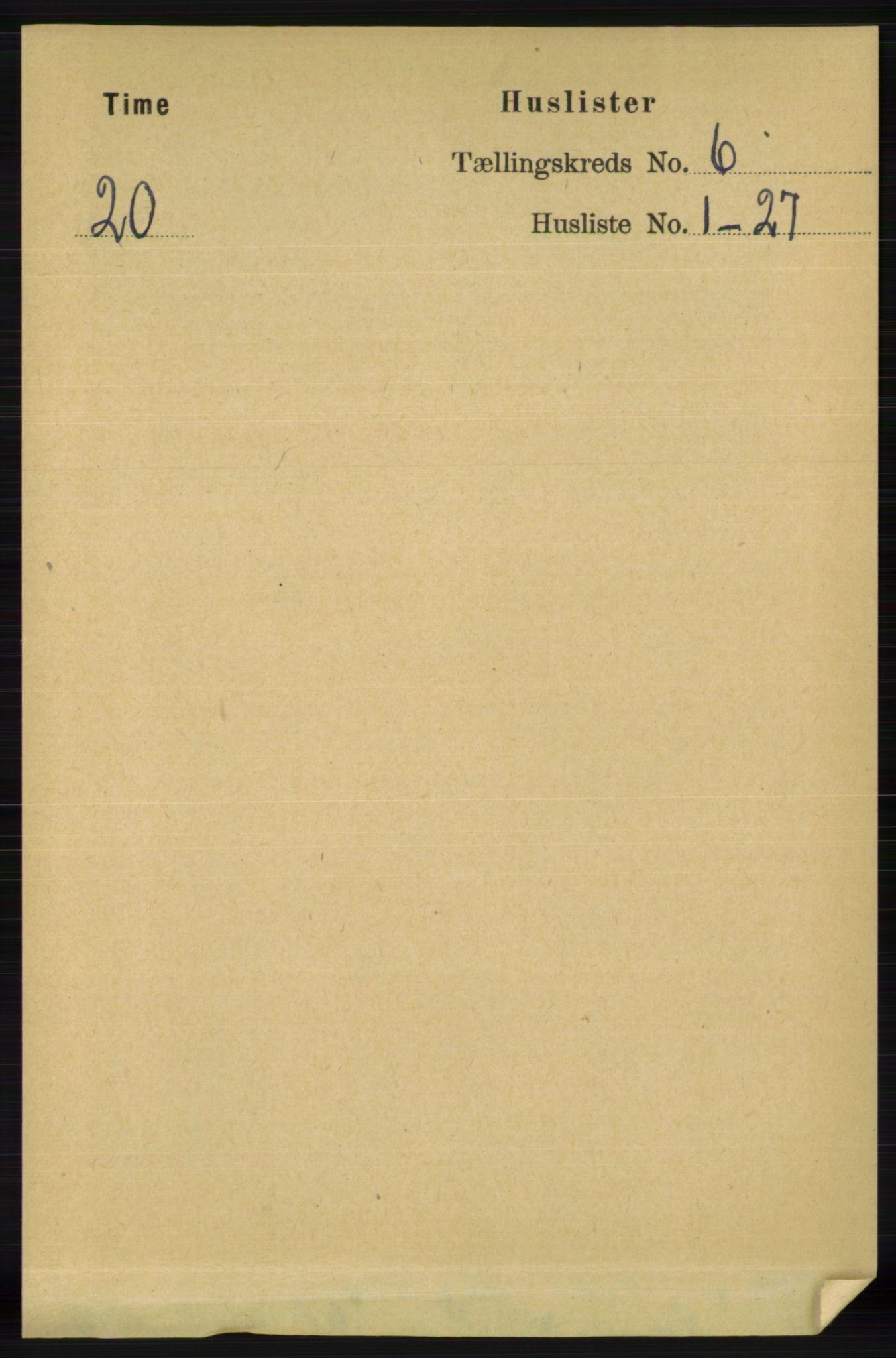 RA, Folketelling 1891 for 1121 Time herred, 1891, s. 2347
