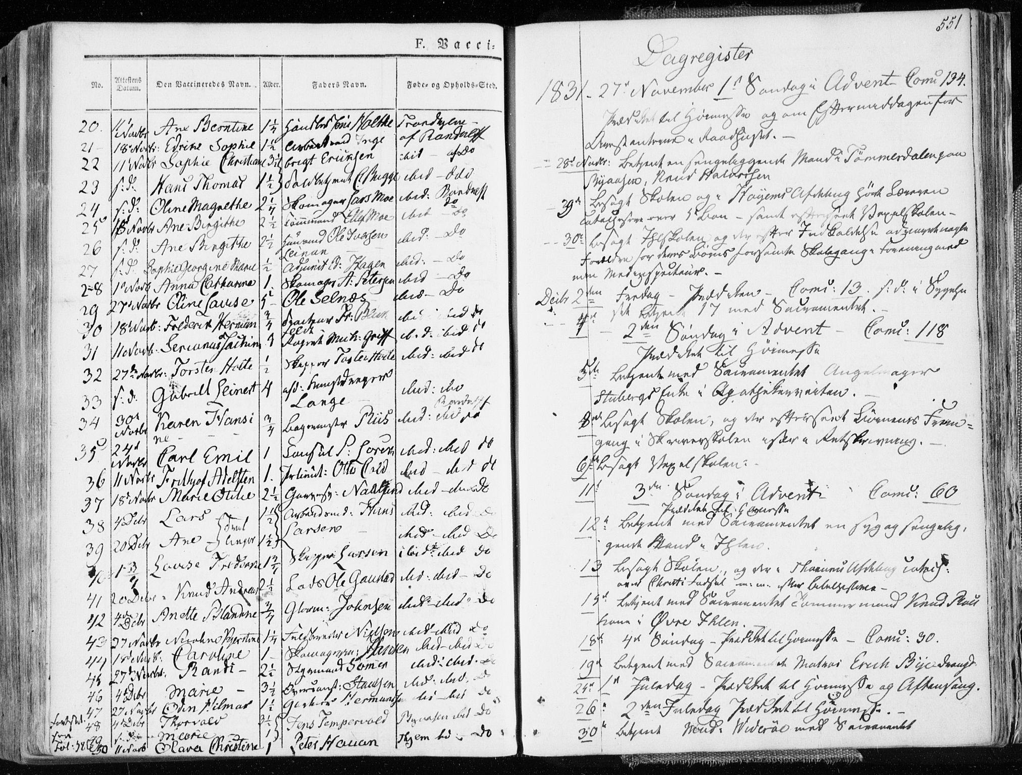 SAT, Ministerialprotokoller, klokkerbøker og fødselsregistre - Sør-Trøndelag, 601/L0047: Ministerialbok nr. 601A15, 1831-1839, s. 551
