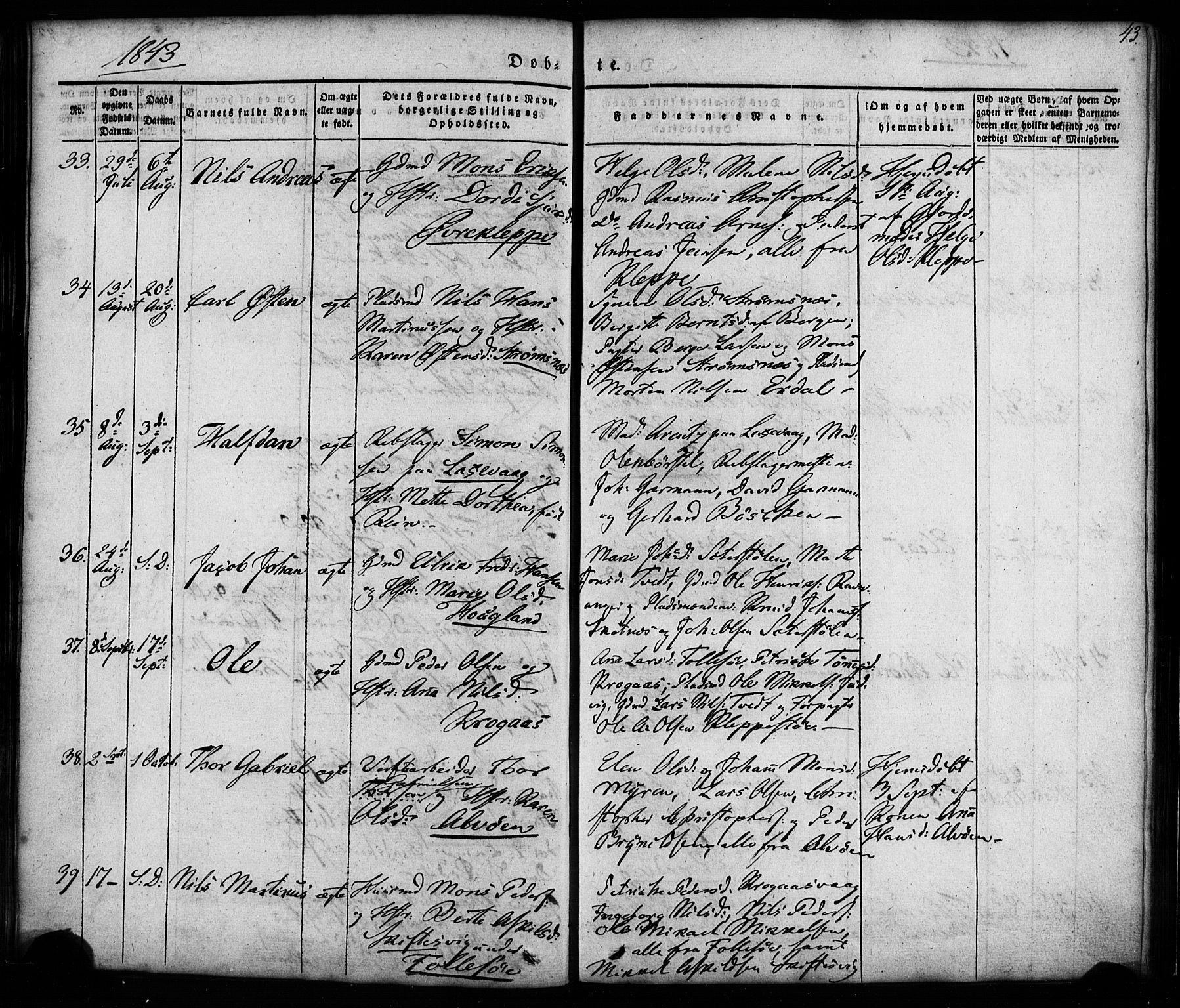 SAB, Askøy Sokneprestembete, H/Ha/Haa/Haaa/L0005: Ministerialbok nr. A 5, 1836-1852, s. 43