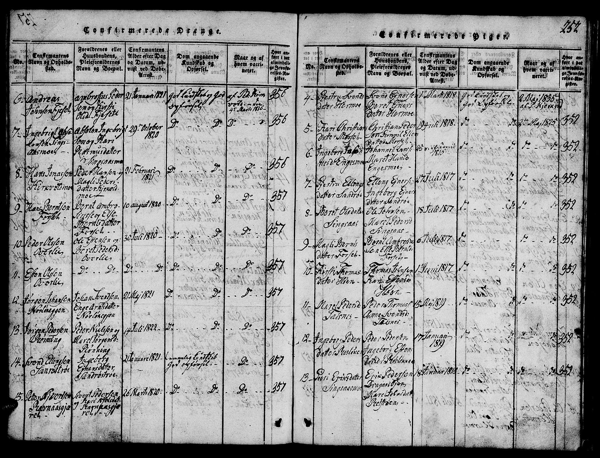 SAT, Ministerialprotokoller, klokkerbøker og fødselsregistre - Sør-Trøndelag, 688/L1026: Klokkerbok nr. 688C01, 1817-1860, s. 252