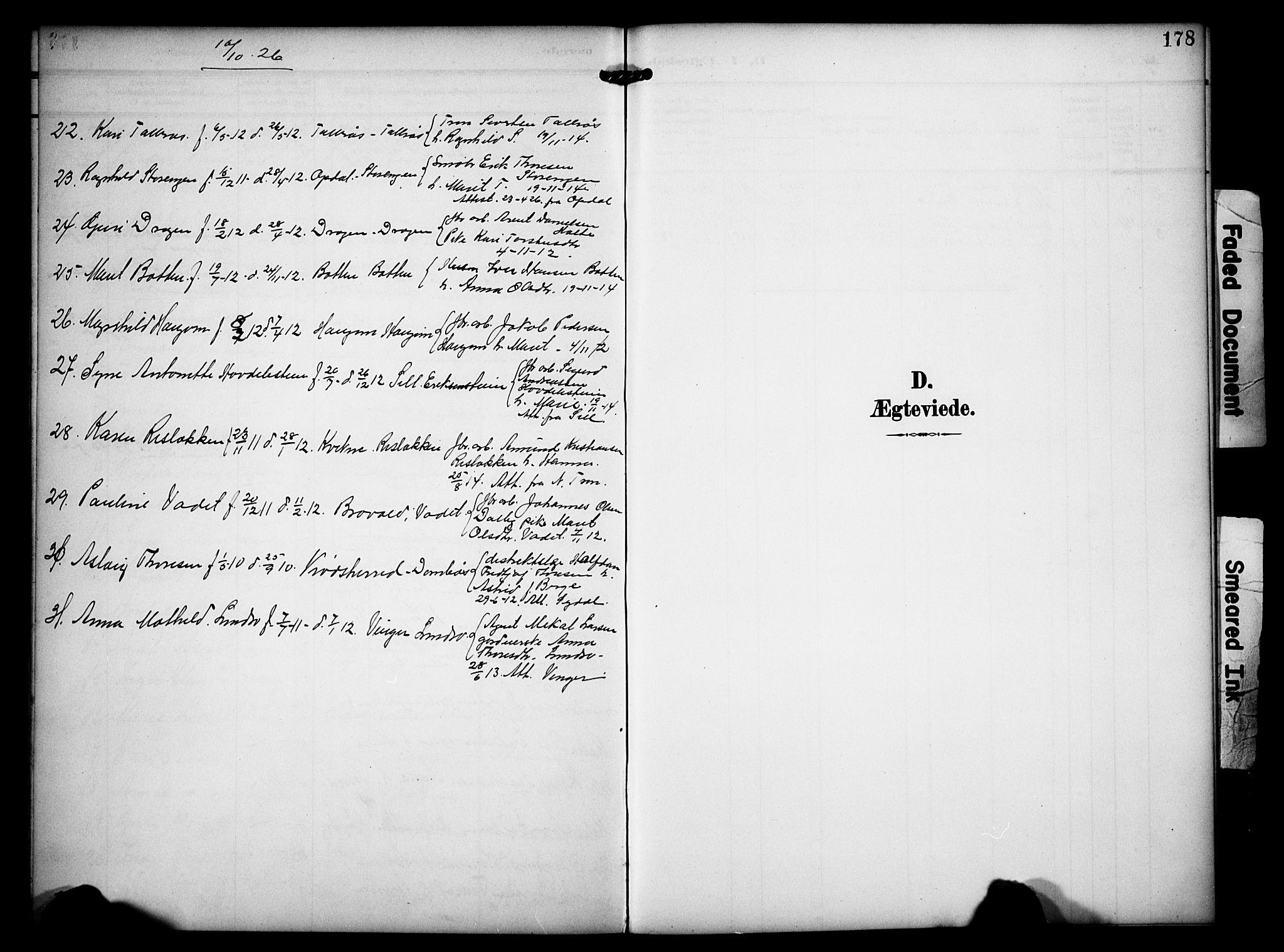 SAH, Dovre prestekontor, Klokkerbok nr. 3, 1907-1929, s. 178