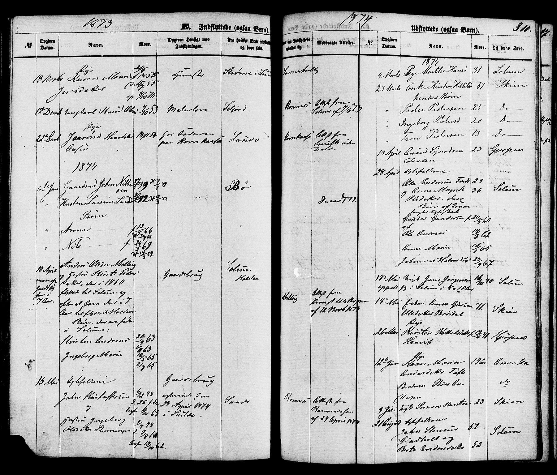 SAKO, Holla kirkebøker, F/Fa/L0007: Ministerialbok nr. 7, 1869-1881, s. 310