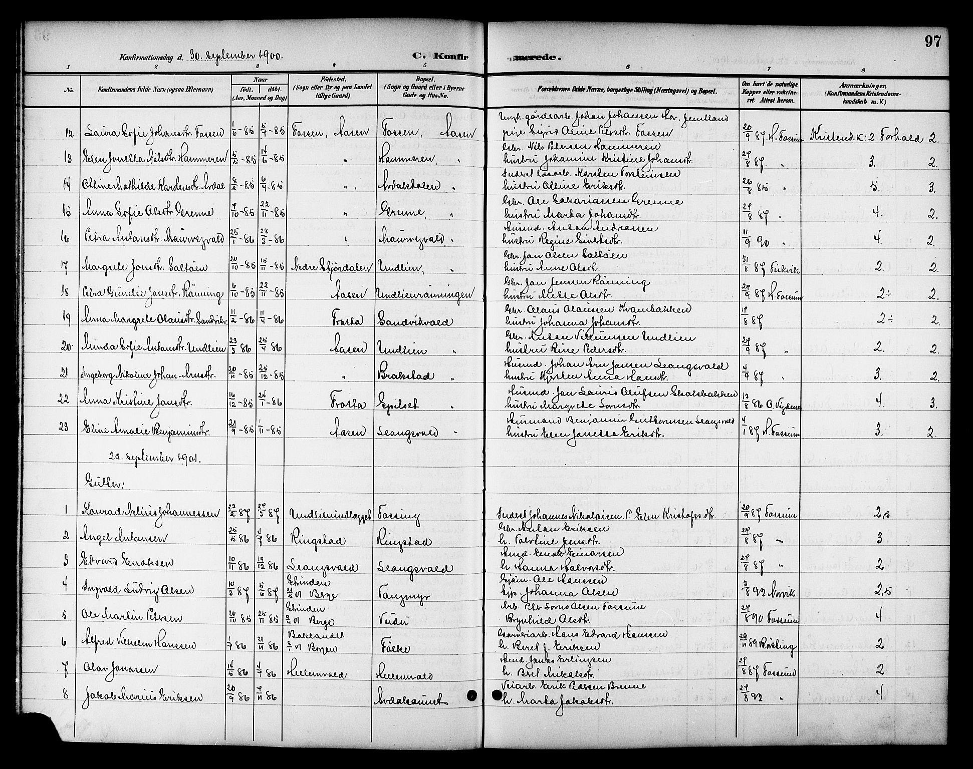 SAT, Ministerialprotokoller, klokkerbøker og fødselsregistre - Nord-Trøndelag, 714/L0135: Klokkerbok nr. 714C04, 1899-1918, s. 97