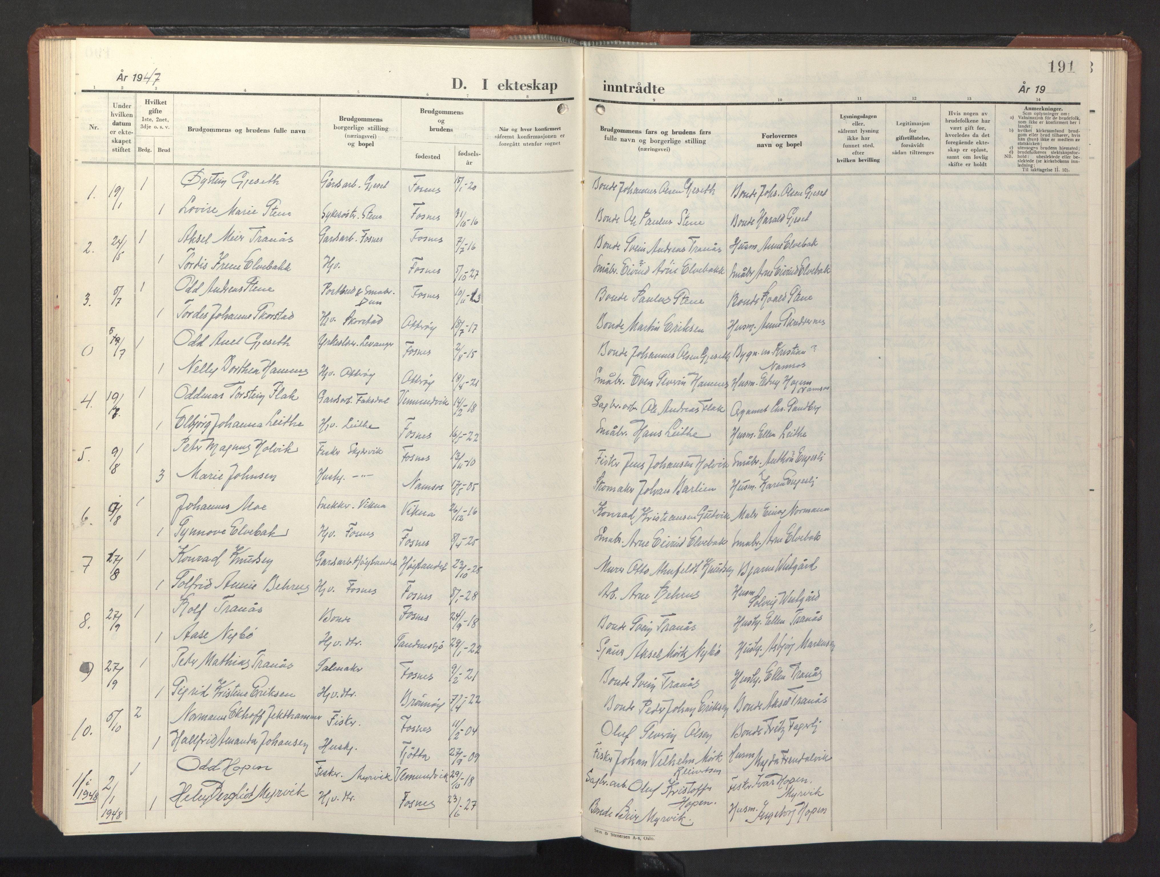 SAT, Ministerialprotokoller, klokkerbøker og fødselsregistre - Nord-Trøndelag, 773/L0625: Klokkerbok nr. 773C01, 1910-1952, s. 191