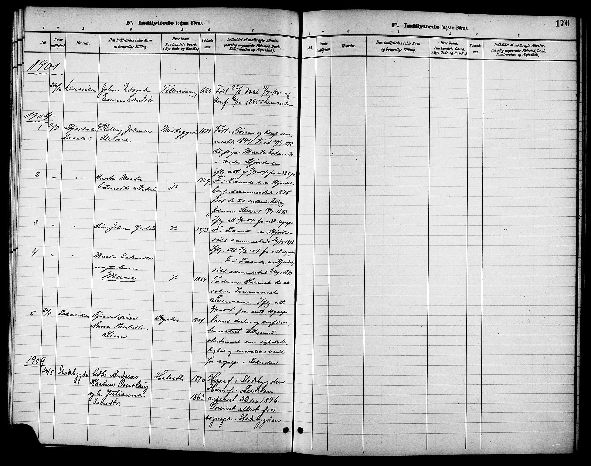 SAT, Ministerialprotokoller, klokkerbøker og fødselsregistre - Sør-Trøndelag, 621/L0460: Klokkerbok nr. 621C03, 1896-1914, s. 176