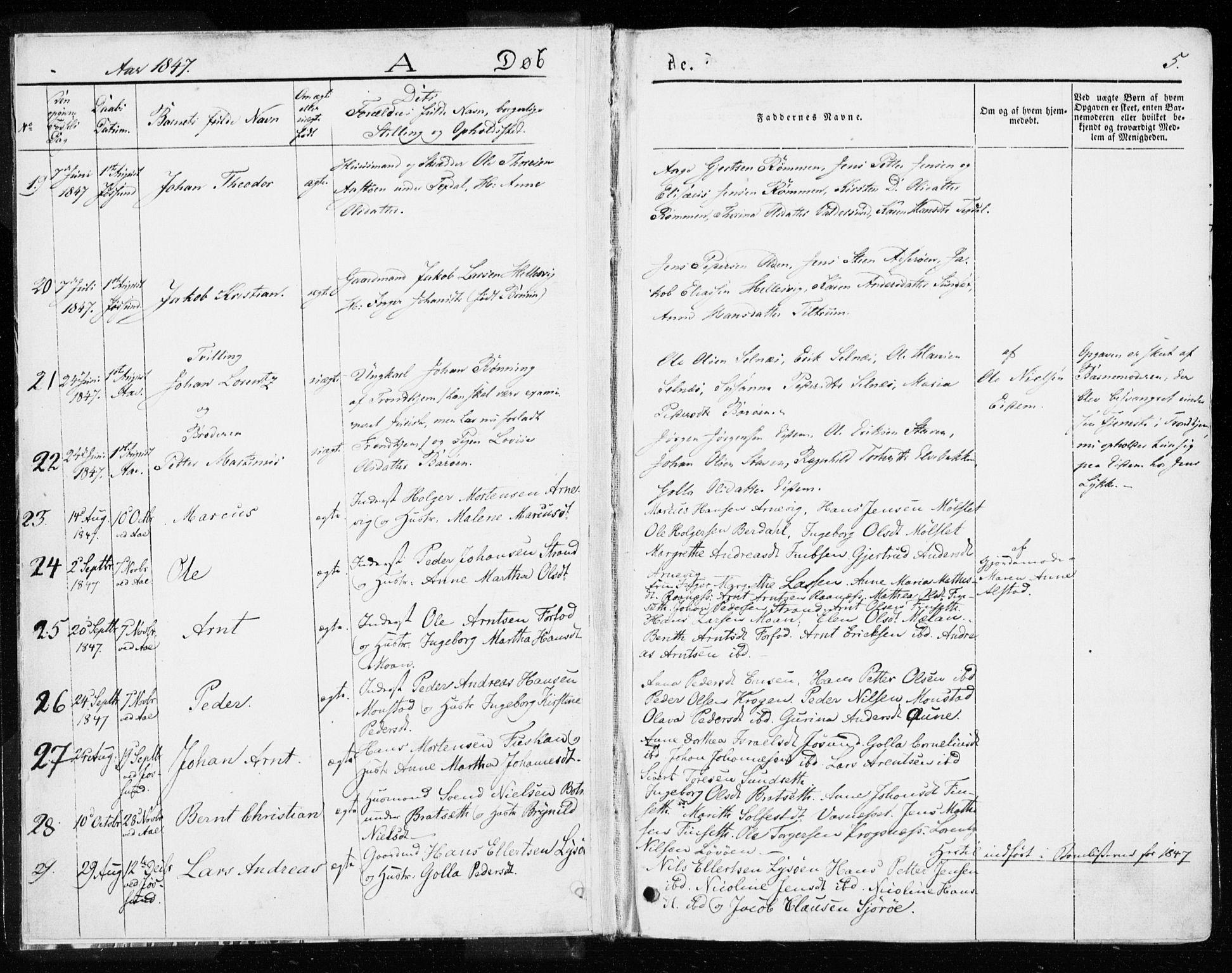 SAT, Ministerialprotokoller, klokkerbøker og fødselsregistre - Sør-Trøndelag, 655/L0677: Ministerialbok nr. 655A06, 1847-1860, s. 5