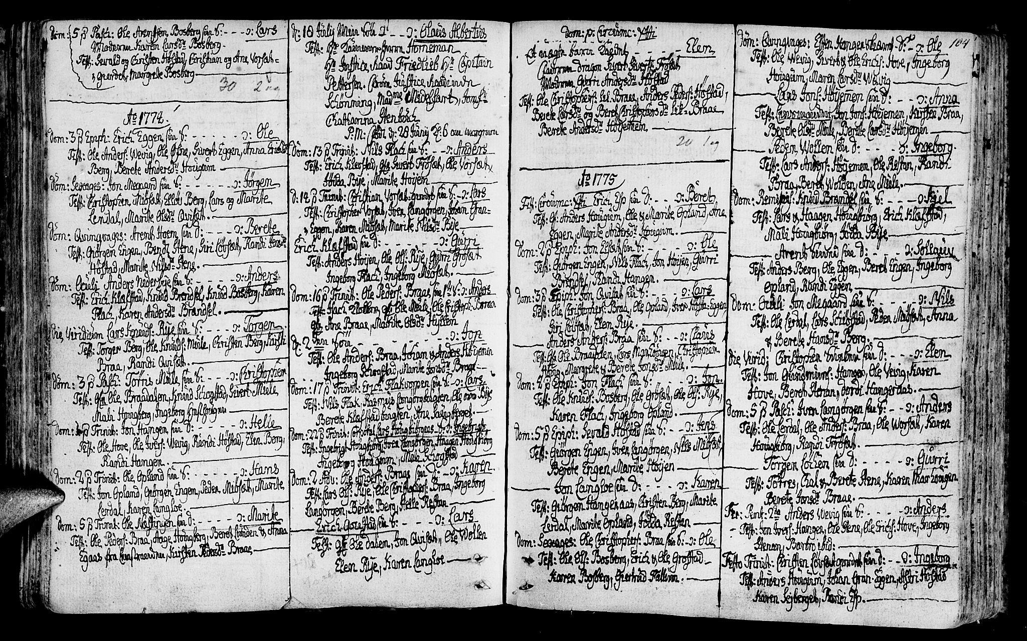 SAT, Ministerialprotokoller, klokkerbøker og fødselsregistre - Sør-Trøndelag, 612/L0370: Ministerialbok nr. 612A04, 1754-1802, s. 104