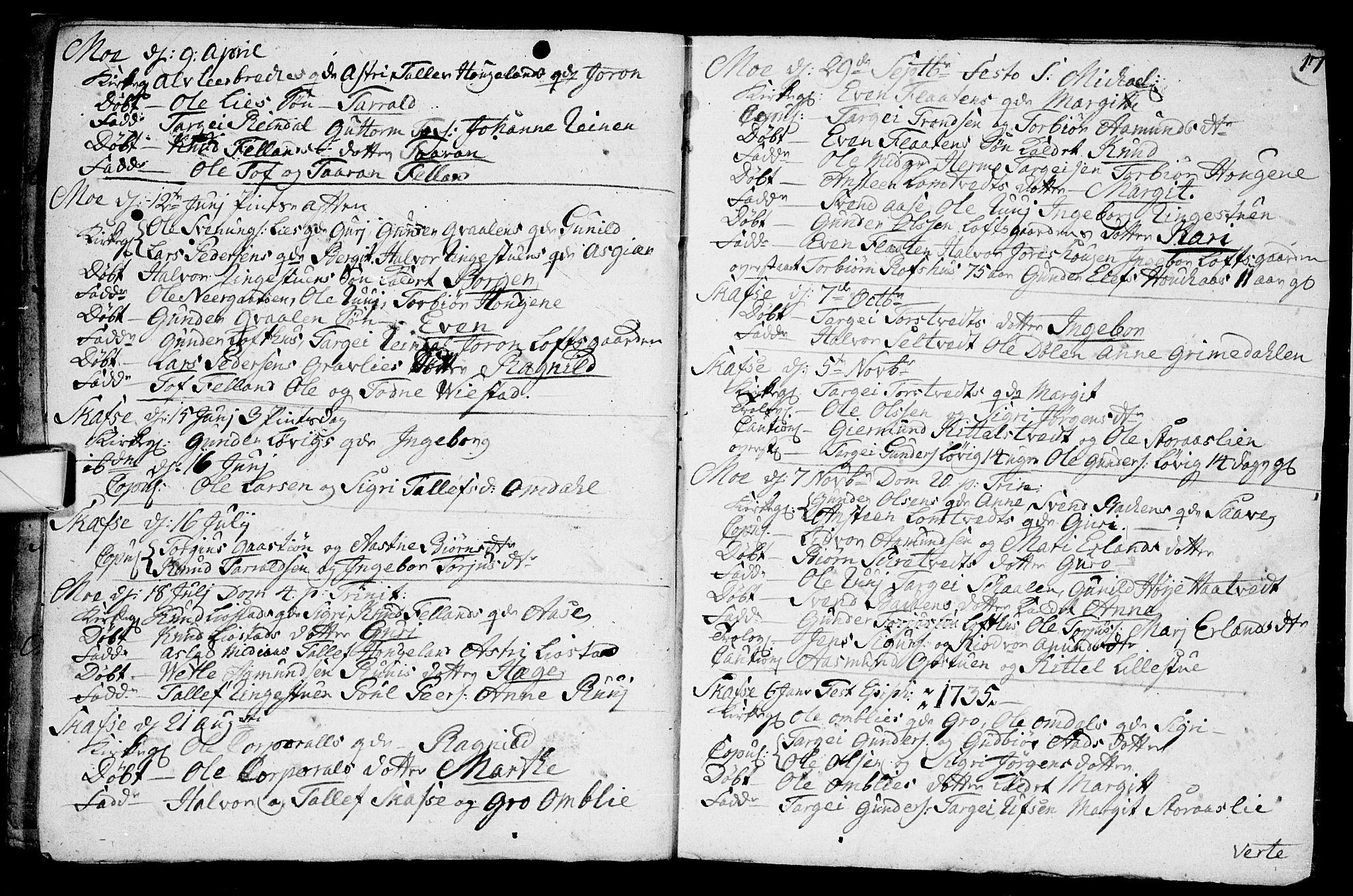 SAKO, Mo kirkebøker, F/Fa/L0001: Ministerialbok nr. I 1, 1724-1748, s. 17