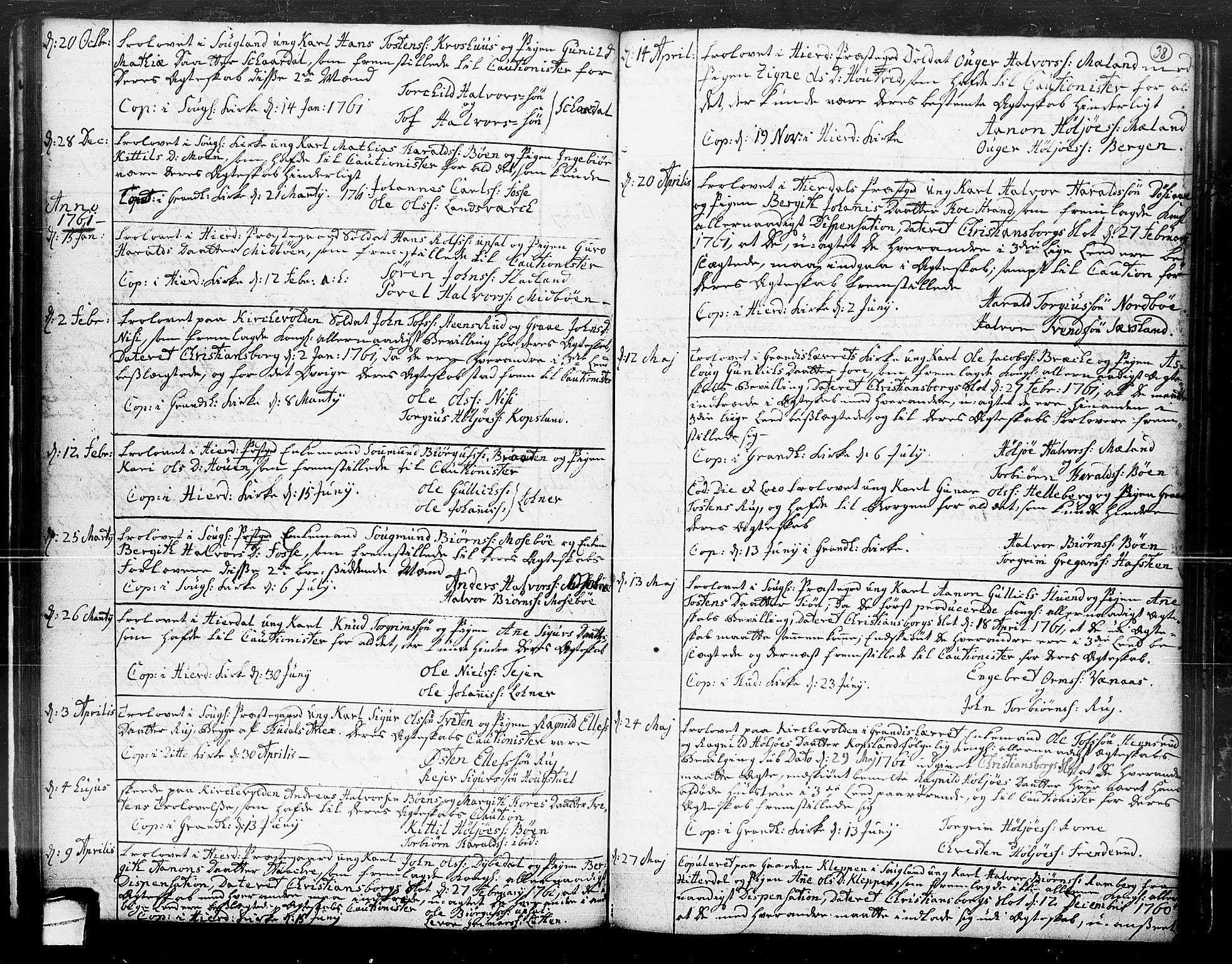 SAKO, Hjartdal kirkebøker, F/Fa/L0004: Ministerialbok nr. I 4, 1727-1795, s. 38