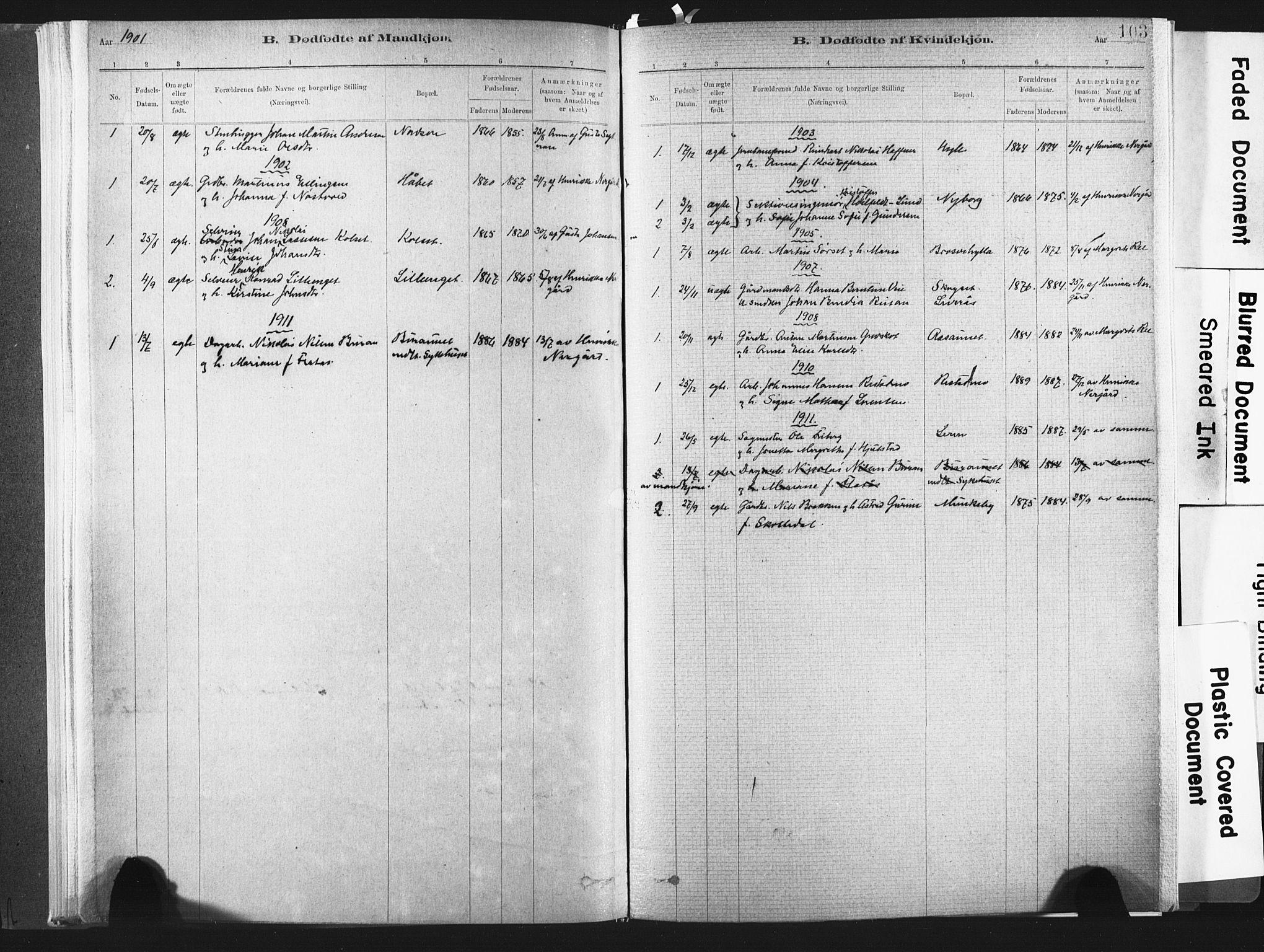 SAT, Ministerialprotokoller, klokkerbøker og fødselsregistre - Nord-Trøndelag, 721/L0207: Ministerialbok nr. 721A02, 1880-1911, s. 103