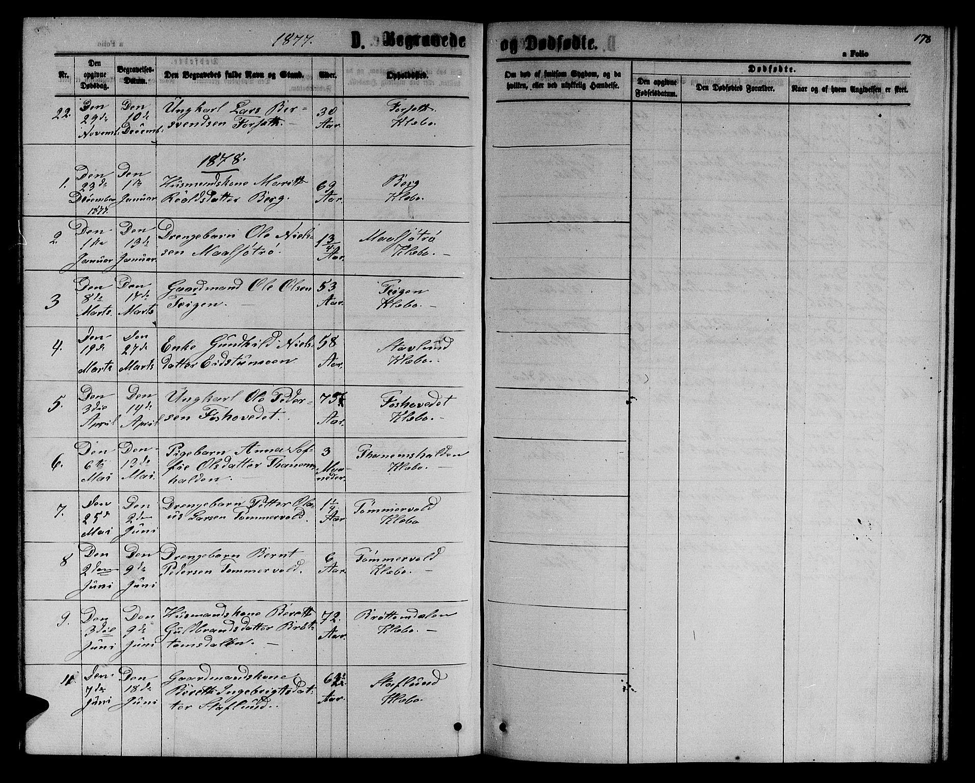 SAT, Ministerialprotokoller, klokkerbøker og fødselsregistre - Sør-Trøndelag, 618/L0451: Klokkerbok nr. 618C02, 1865-1883, s. 178