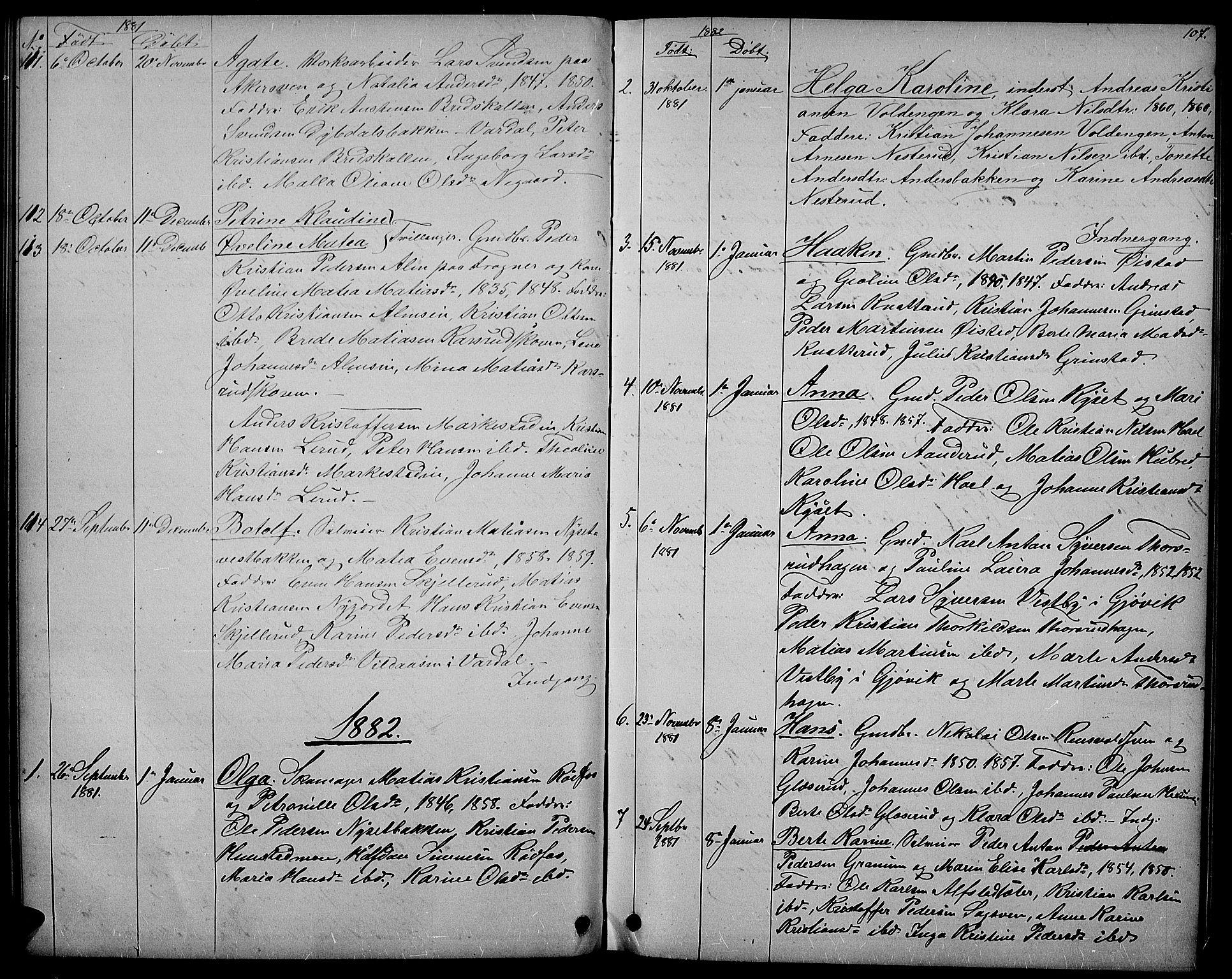 SAH, Vestre Toten prestekontor, Klokkerbok nr. 6, 1870-1887, s. 107