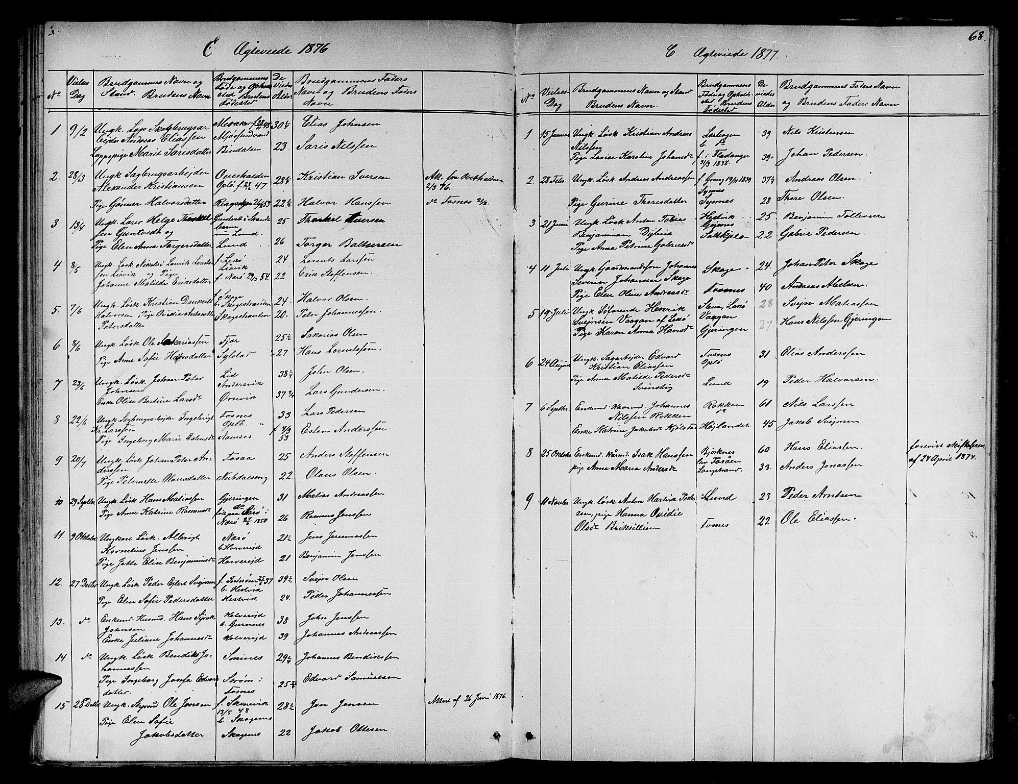 SAT, Ministerialprotokoller, klokkerbøker og fødselsregistre - Nord-Trøndelag, 780/L0650: Klokkerbok nr. 780C02, 1866-1884, s. 68