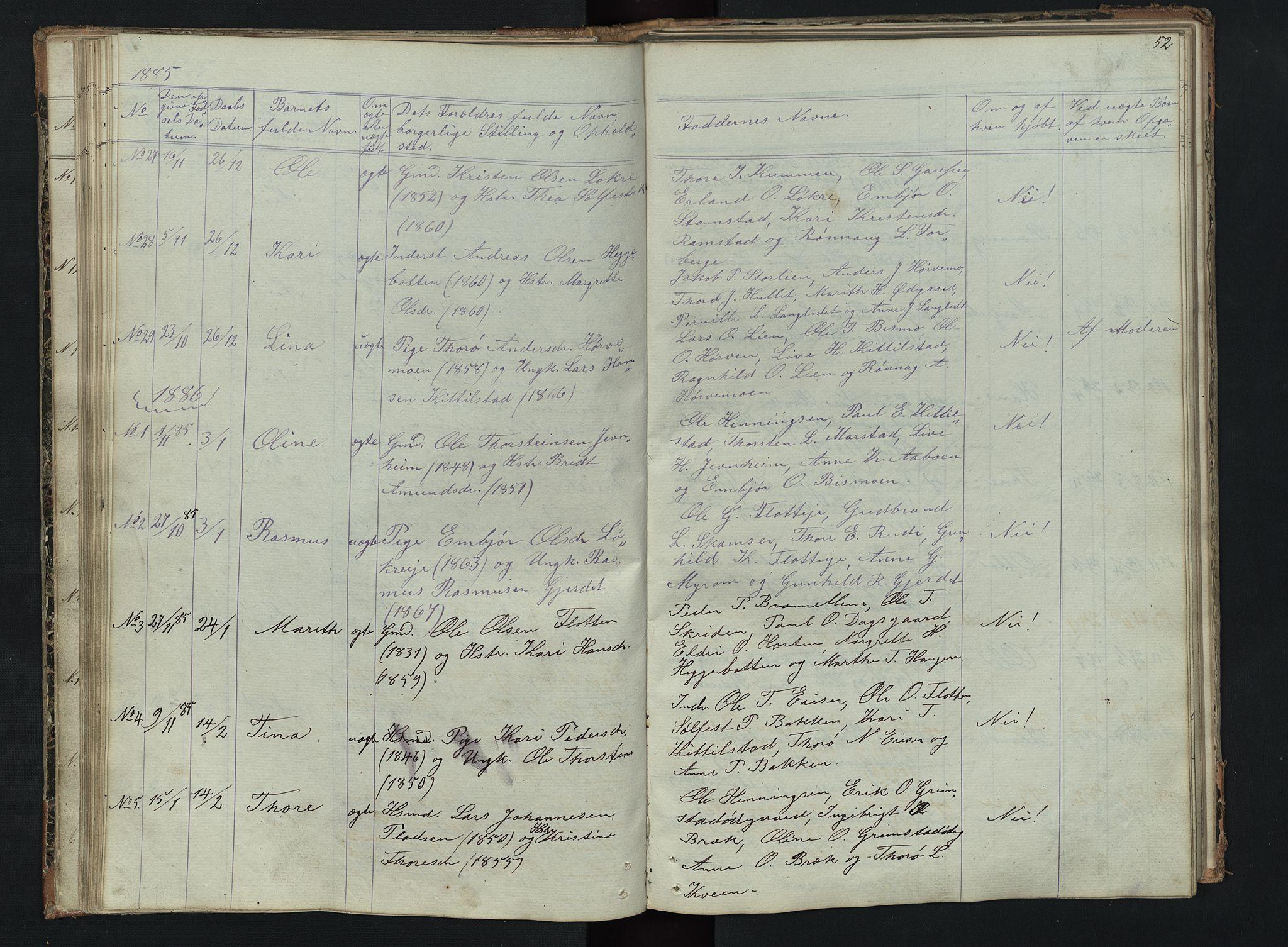 SAH, Skjåk prestekontor, Klokkerbok nr. 2, 1867-1894, s. 52
