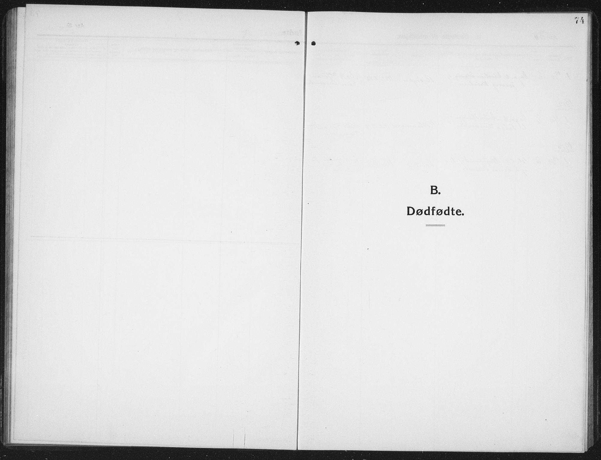 SAT, Ministerialprotokoller, klokkerbøker og fødselsregistre - Nord-Trøndelag, 742/L0413: Klokkerbok nr. 742C04, 1911-1938, s. 74