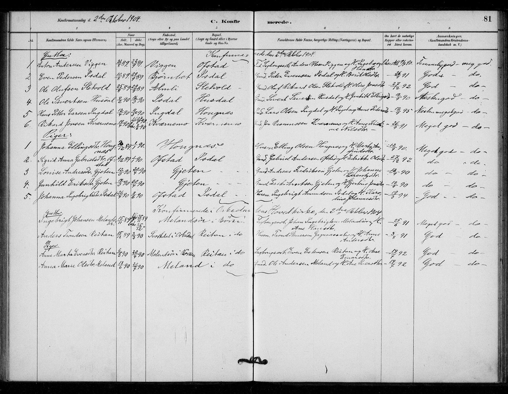 SAT, Ministerialprotokoller, klokkerbøker og fødselsregistre - Sør-Trøndelag, 670/L0836: Ministerialbok nr. 670A01, 1879-1904, s. 81