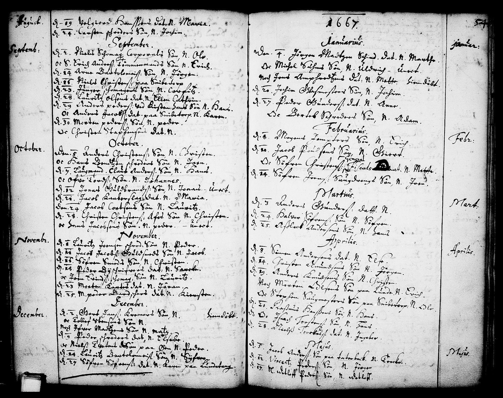 SAKO, Skien kirkebøker, F/Fa/L0001: Ministerialbok nr. 1, 1659-1679, s. 54