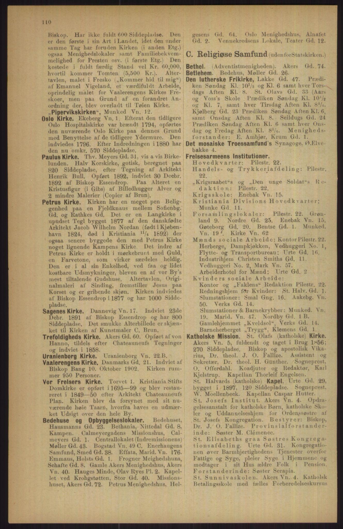RA, Kristiania adressebok (publikasjon)*, 1911, s. 110