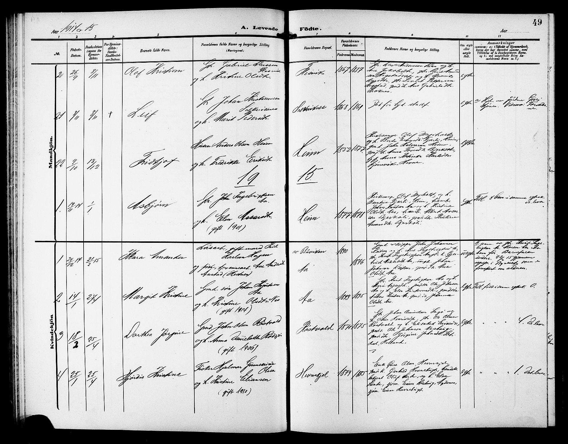 SAT, Ministerialprotokoller, klokkerbøker og fødselsregistre - Sør-Trøndelag, 633/L0520: Klokkerbok nr. 633C02, 1906-1921, s. 49