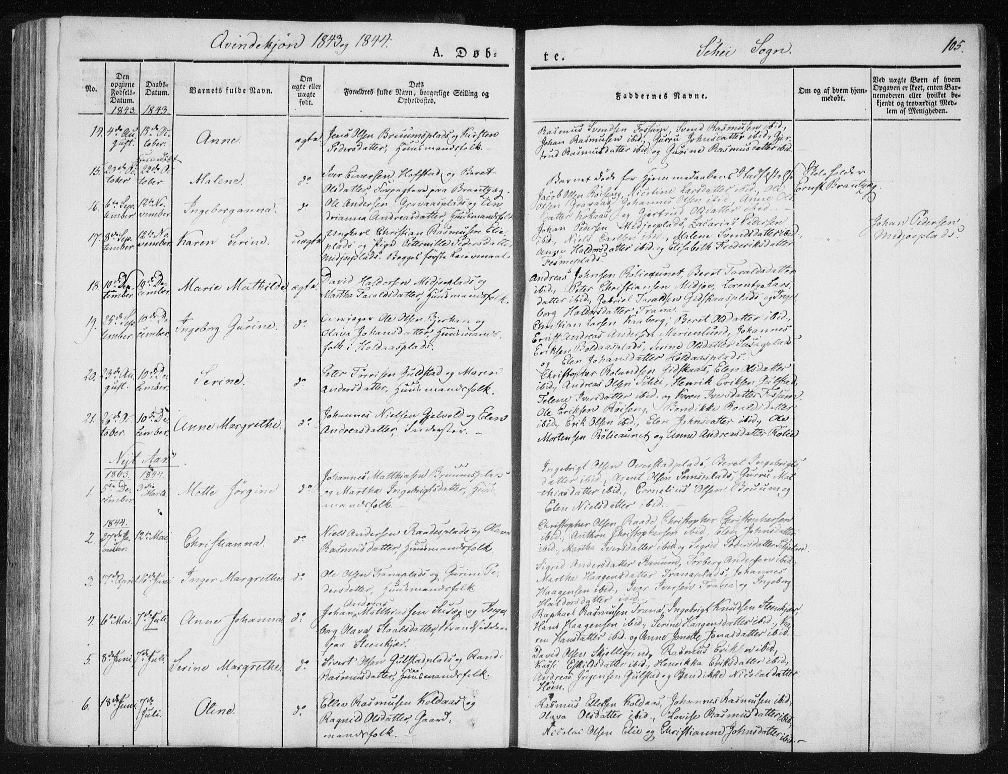 SAT, Ministerialprotokoller, klokkerbøker og fødselsregistre - Nord-Trøndelag, 735/L0339: Ministerialbok nr. 735A06 /2, 1836-1848, s. 105