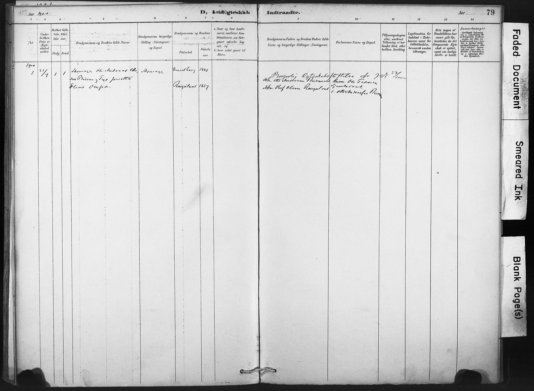 SAT, Ministerialprotokoller, klokkerbøker og fødselsregistre - Nord-Trøndelag, 718/L0175: Ministerialbok nr. 718A01, 1890-1923, s. 79