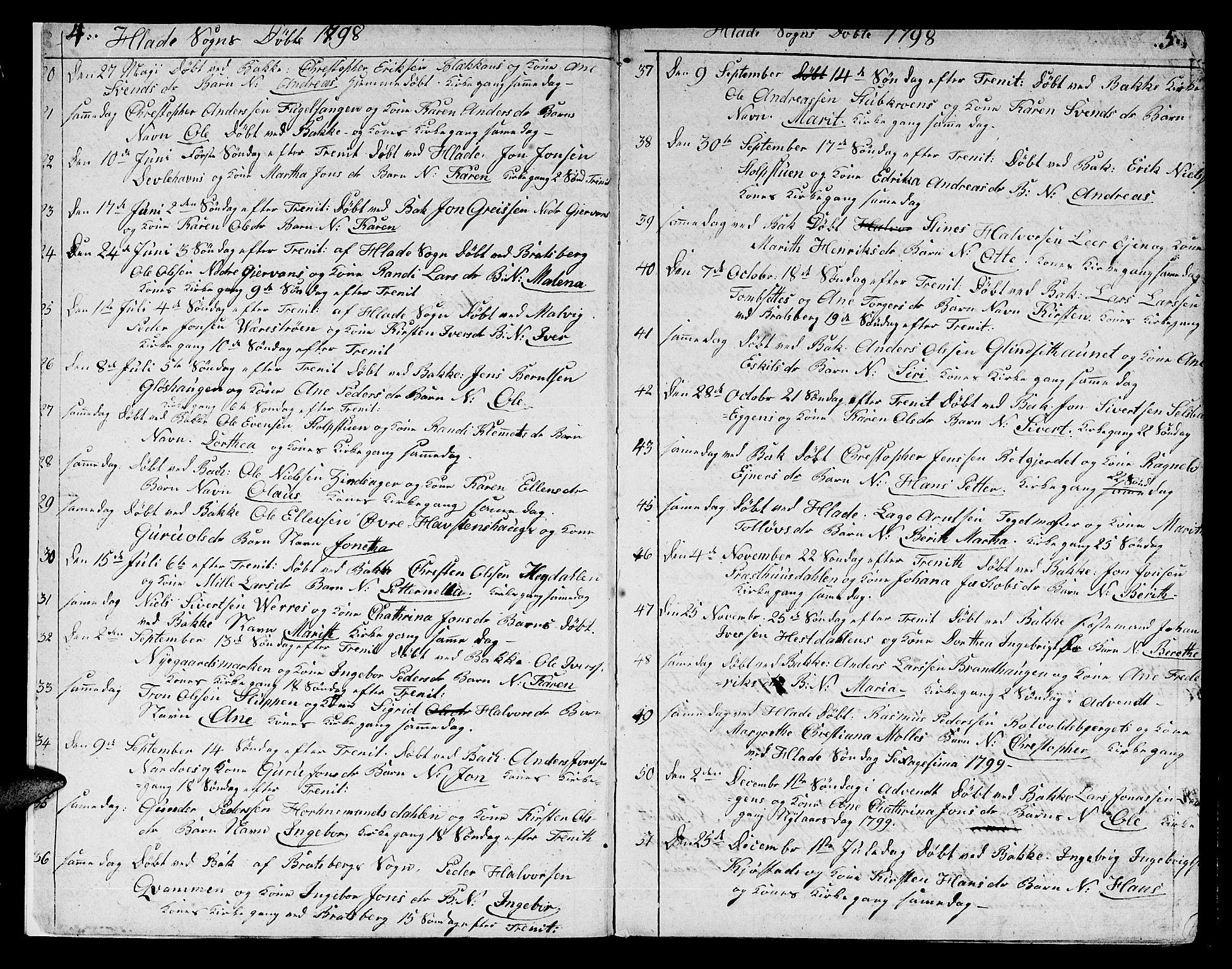 SAT, Ministerialprotokoller, klokkerbøker og fødselsregistre - Sør-Trøndelag, 606/L0306: Klokkerbok nr. 606C02, 1797-1829, s. 4-5