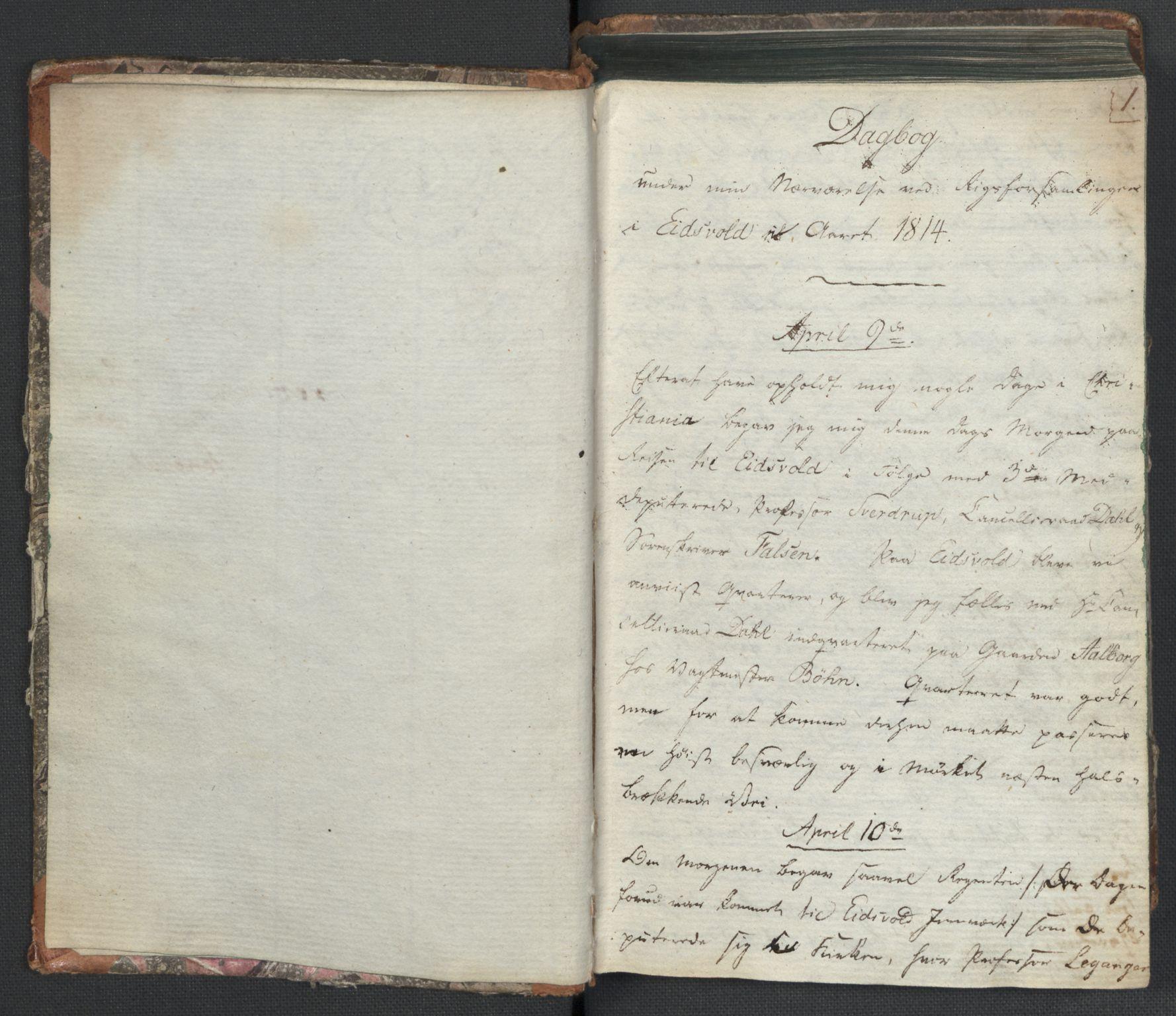 RA, Manuskriptsamlingen, H/L0021: Byfogd Gregers Winther Wulfbergs dagbok under Riksforsamlingen på Eidsvoll, 1814, s. 1