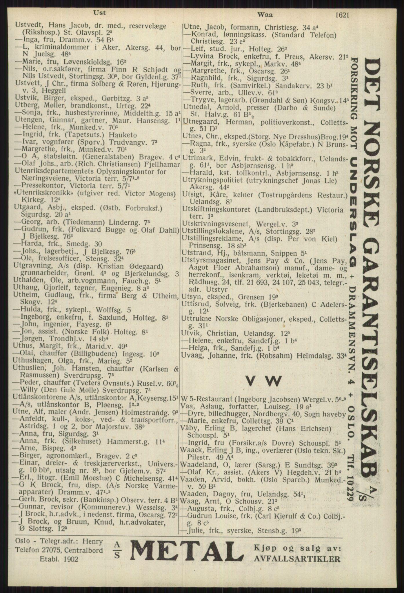 RA, Oslo adressebok (publikasjon)*, 1939, s. 1621