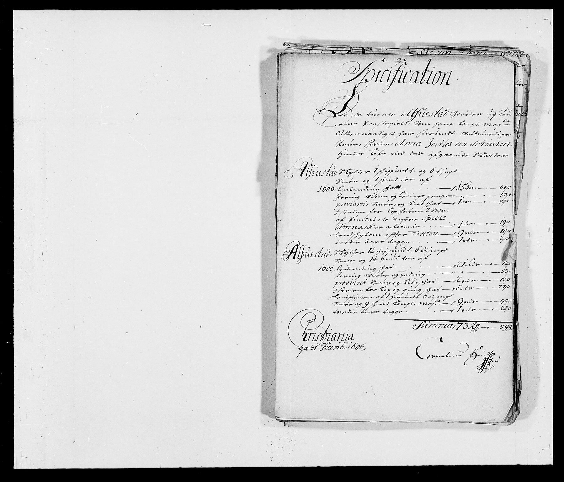 RA, Rentekammeret inntil 1814, Reviderte regnskaper, Fogderegnskap, R18/L1285: Fogderegnskap Hadeland, Toten og Valdres, 1686, s. 292