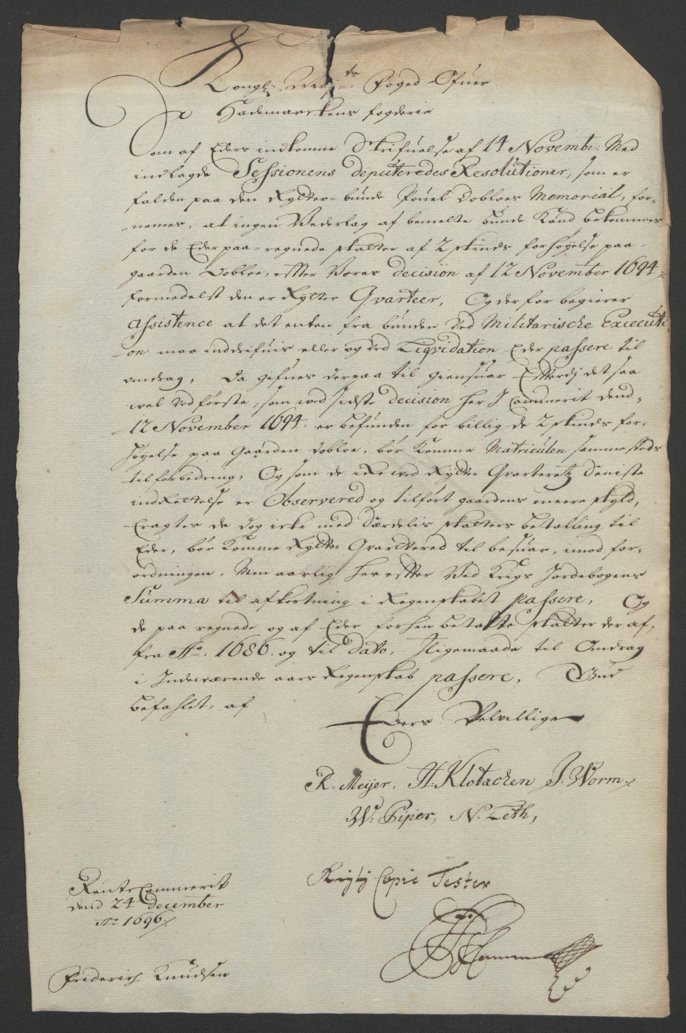 RA, Rentekammeret inntil 1814, Reviderte regnskaper, Fogderegnskap, R16/L1036: Fogderegnskap Hedmark, 1695-1696, s. 436