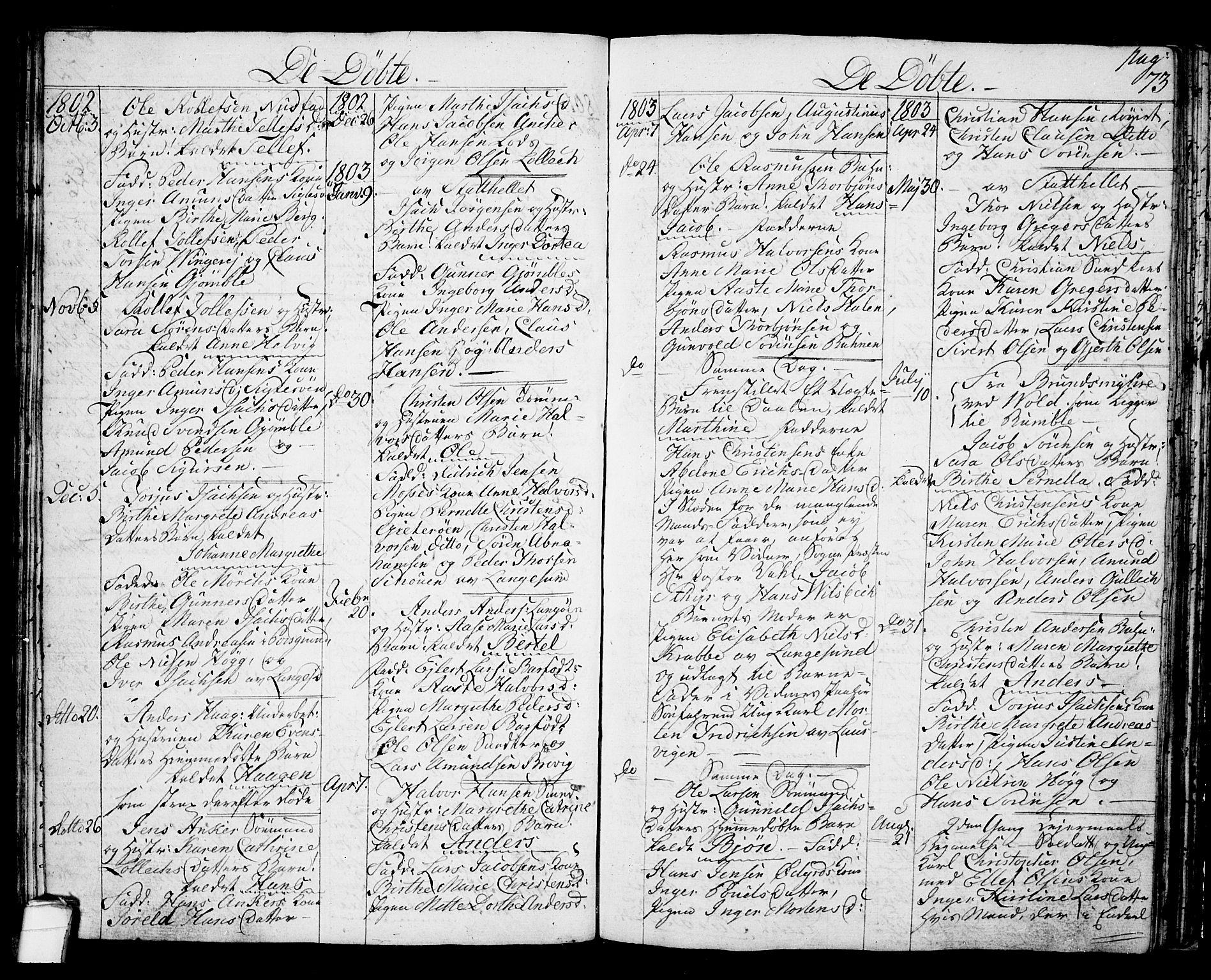SAKO, Langesund kirkebøker, G/Ga/L0002: Klokkerbok nr. 2, 1801-1815, s. 73